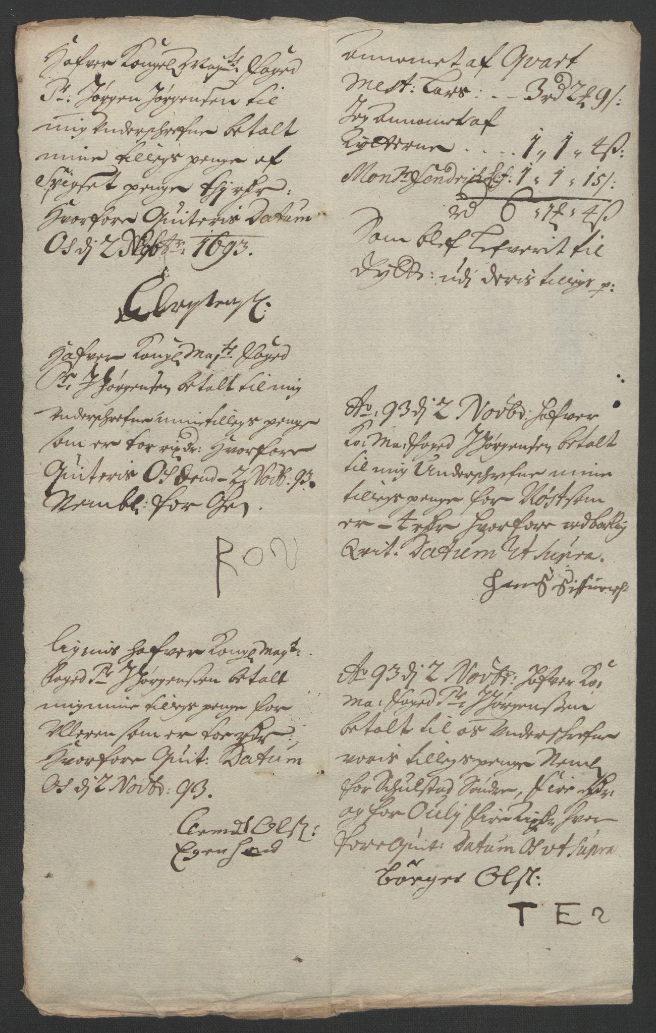 RA, Rentekammeret inntil 1814, Reviderte regnskaper, Fogderegnskap, R13/L0831: Fogderegnskap Solør, Odal og Østerdal, 1693, s. 262