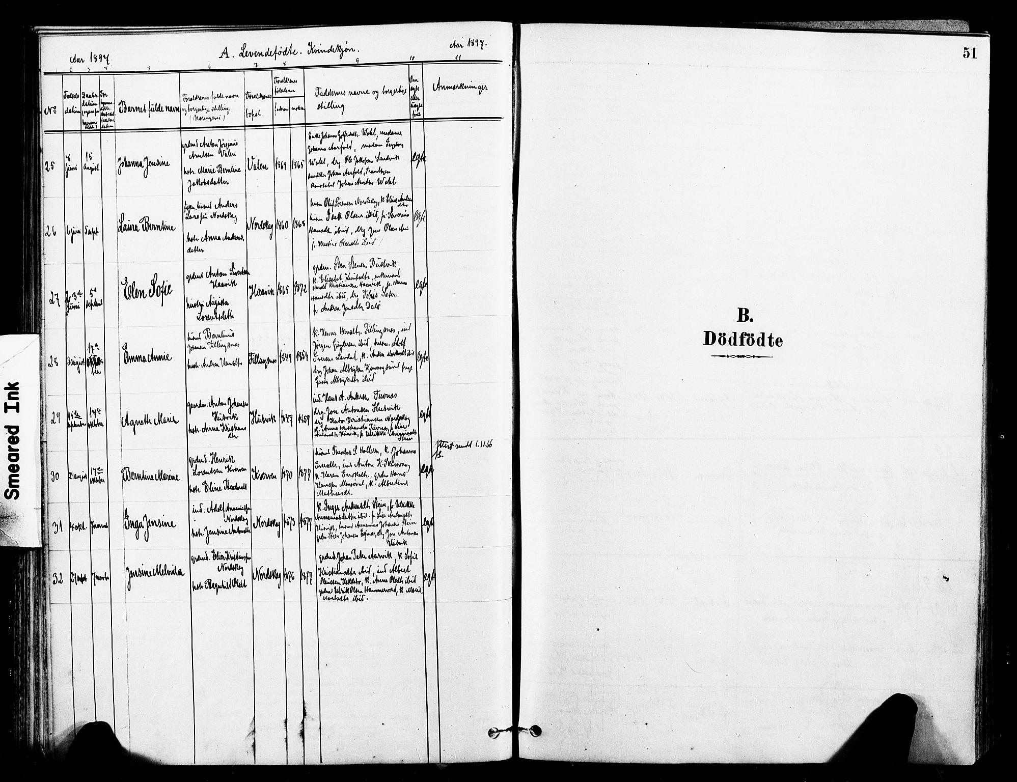 SAT, Ministerialprotokoller, klokkerbøker og fødselsregistre - Sør-Trøndelag, 641/L0595: Ministerialbok nr. 641A01, 1882-1897, s. 51