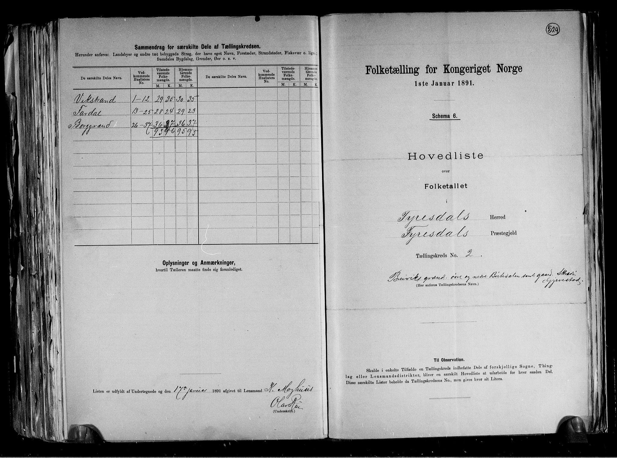 RA, Folketelling 1891 for 0831 Fyresdal herred, 1891, s. 8