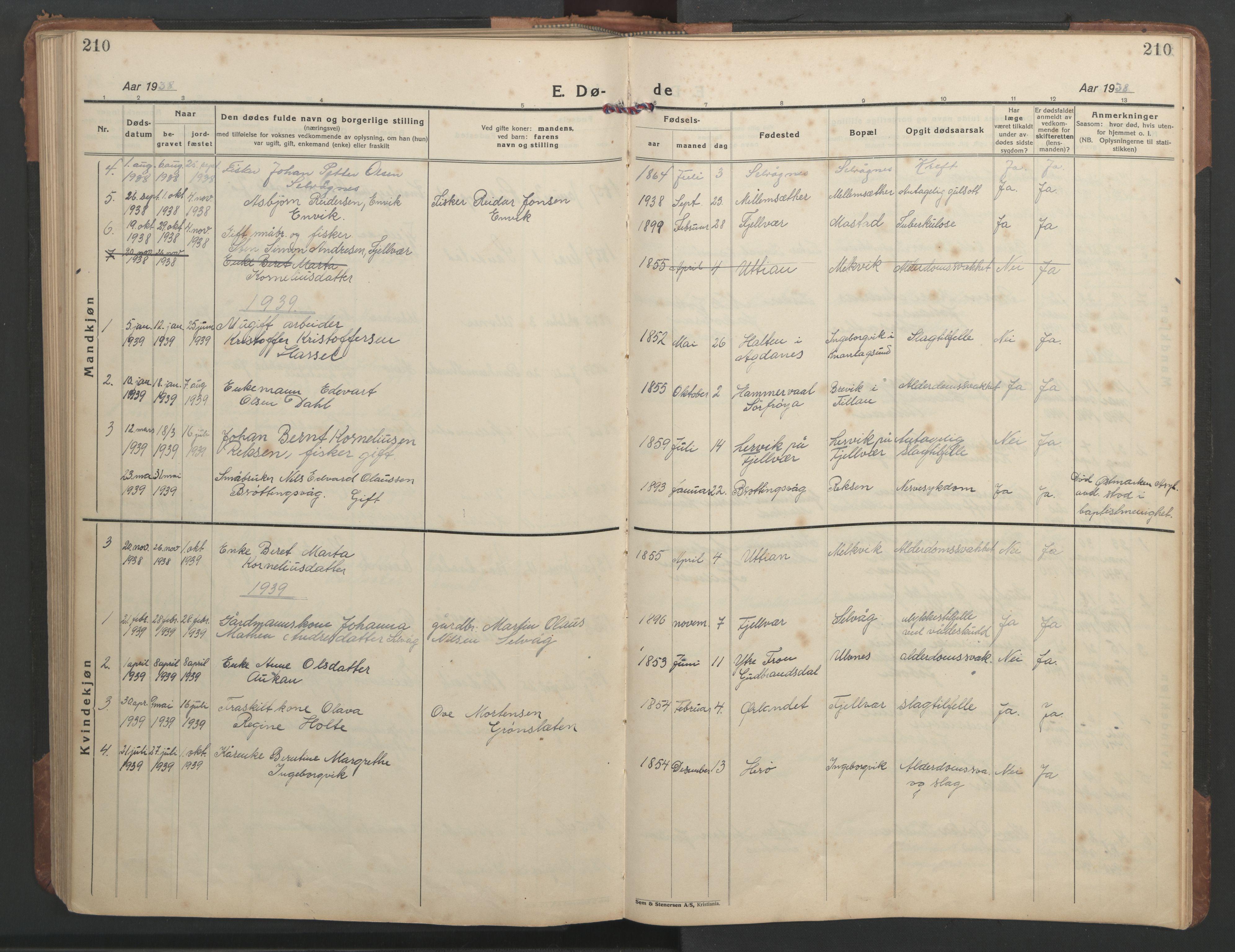 SAT, Ministerialprotokoller, klokkerbøker og fødselsregistre - Sør-Trøndelag, 638/L0569: Klokkerbok nr. 638C01, 1923-1961, s. 210