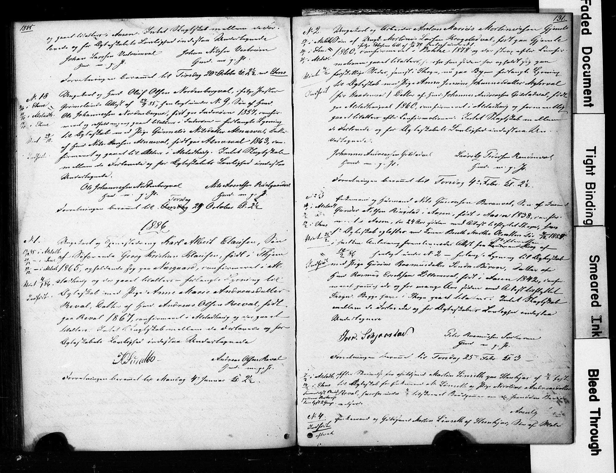 SAT, Ministerialprotokoller, klokkerbøker og fødselsregistre - Nord-Trøndelag, 717/L0161: Forlovererklæringer nr. 717A11, 1850-1895, s. 131