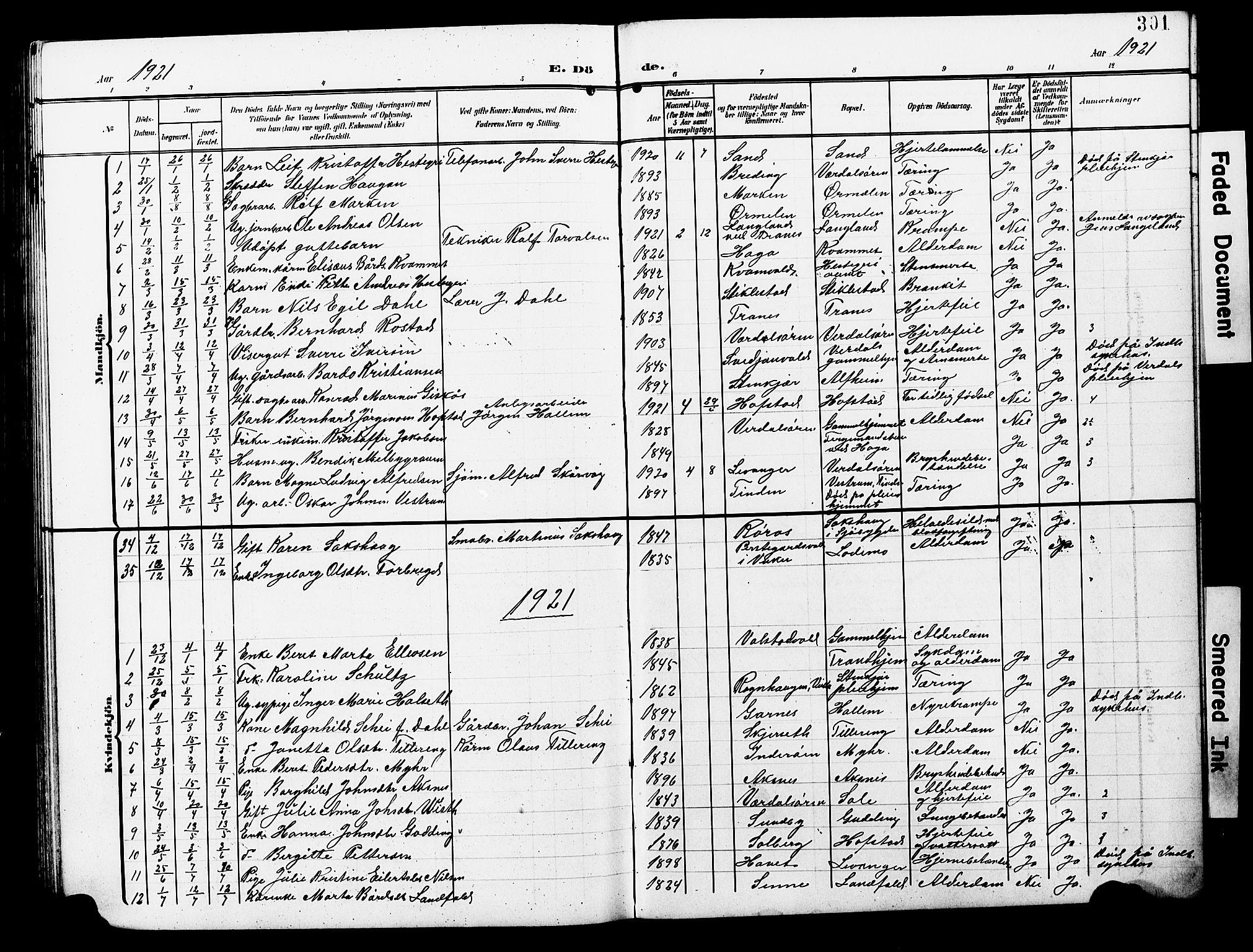 SAT, Ministerialprotokoller, klokkerbøker og fødselsregistre - Nord-Trøndelag, 723/L0258: Klokkerbok nr. 723C06, 1908-1927, s. 301