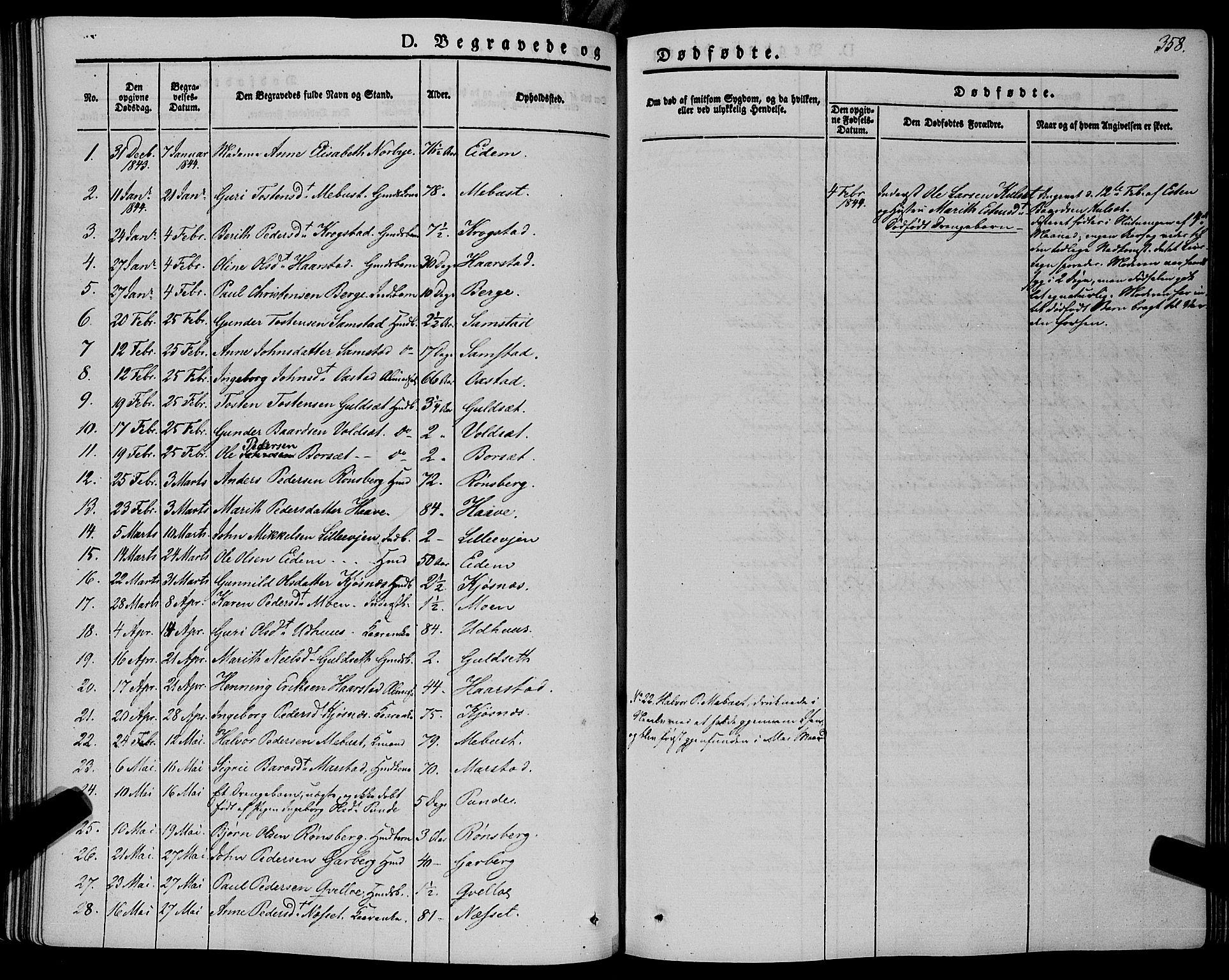 SAT, Ministerialprotokoller, klokkerbøker og fødselsregistre - Sør-Trøndelag, 695/L1145: Ministerialbok nr. 695A06 /1, 1843-1859, s. 358