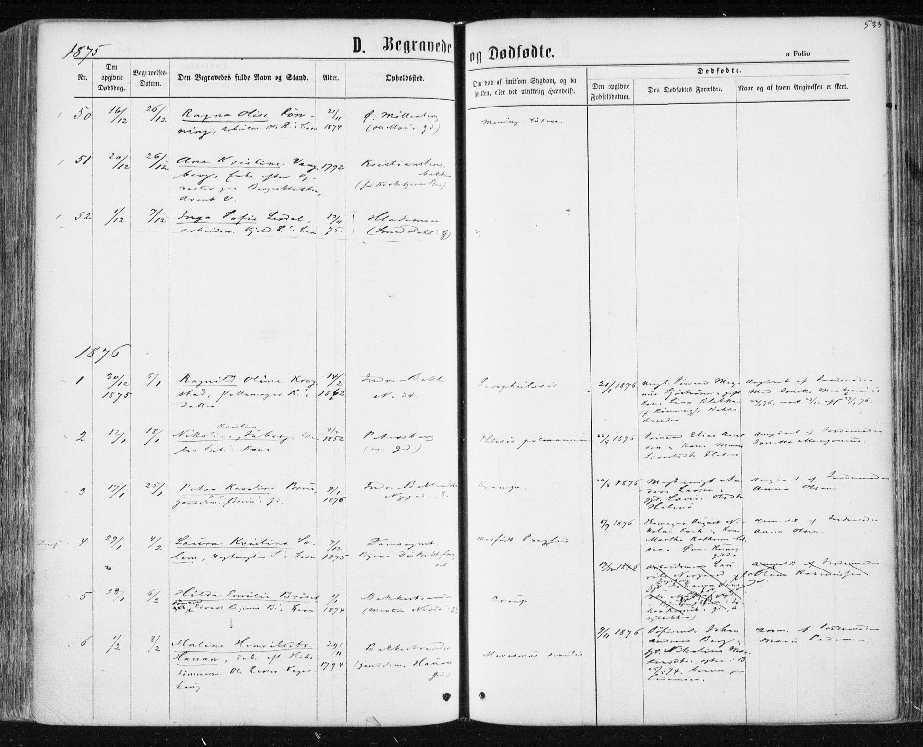 SAT, Ministerialprotokoller, klokkerbøker og fødselsregistre - Sør-Trøndelag, 604/L0186: Ministerialbok nr. 604A07, 1866-1877, s. 533
