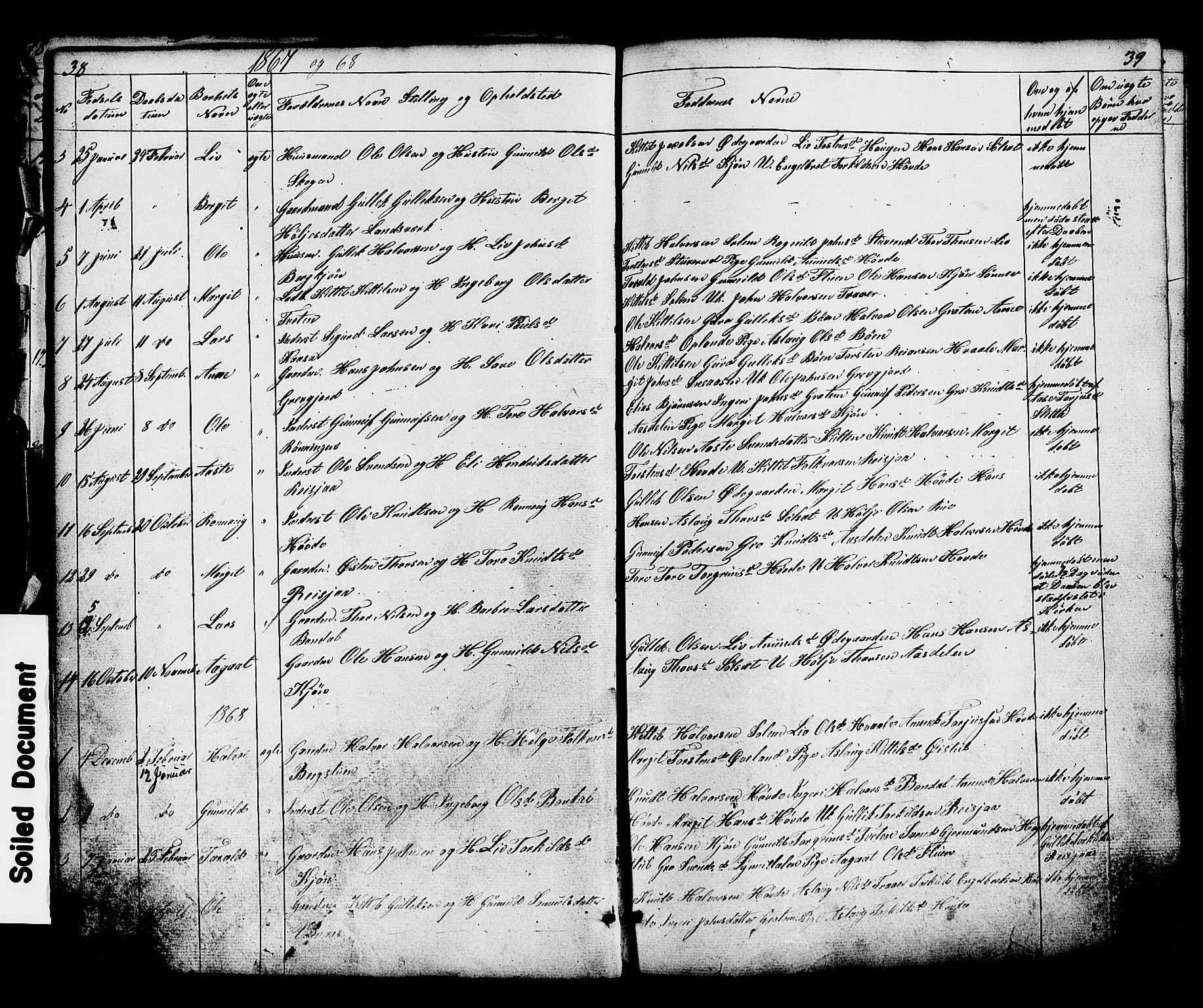 SAKO, Hjartdal kirkebøker, G/Gc/L0002: Klokkerbok nr. III 2, 1854-1890, s. 38-39