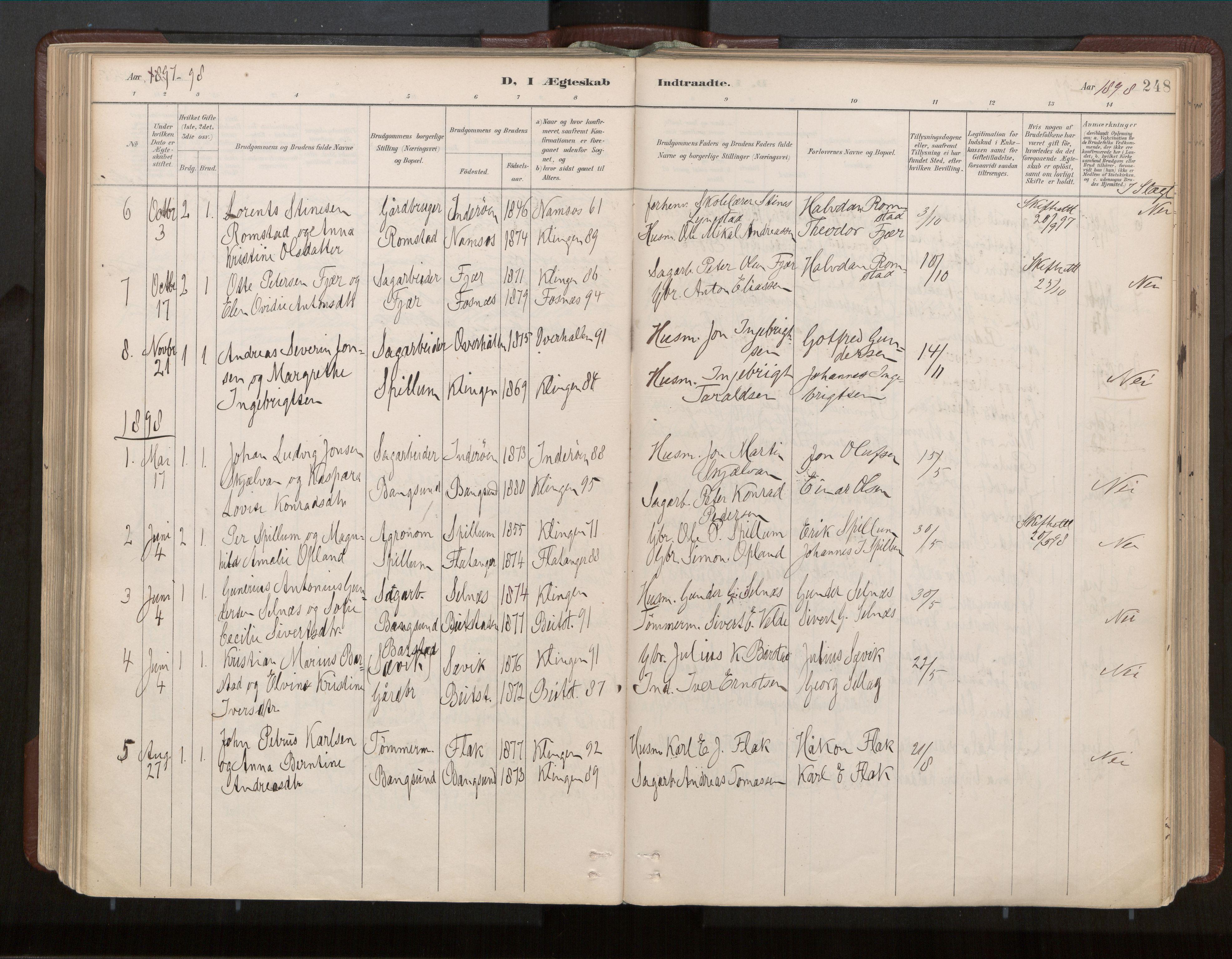SAT, Ministerialprotokoller, klokkerbøker og fødselsregistre - Nord-Trøndelag, 770/L0589: Ministerialbok nr. 770A03, 1887-1929, s. 248