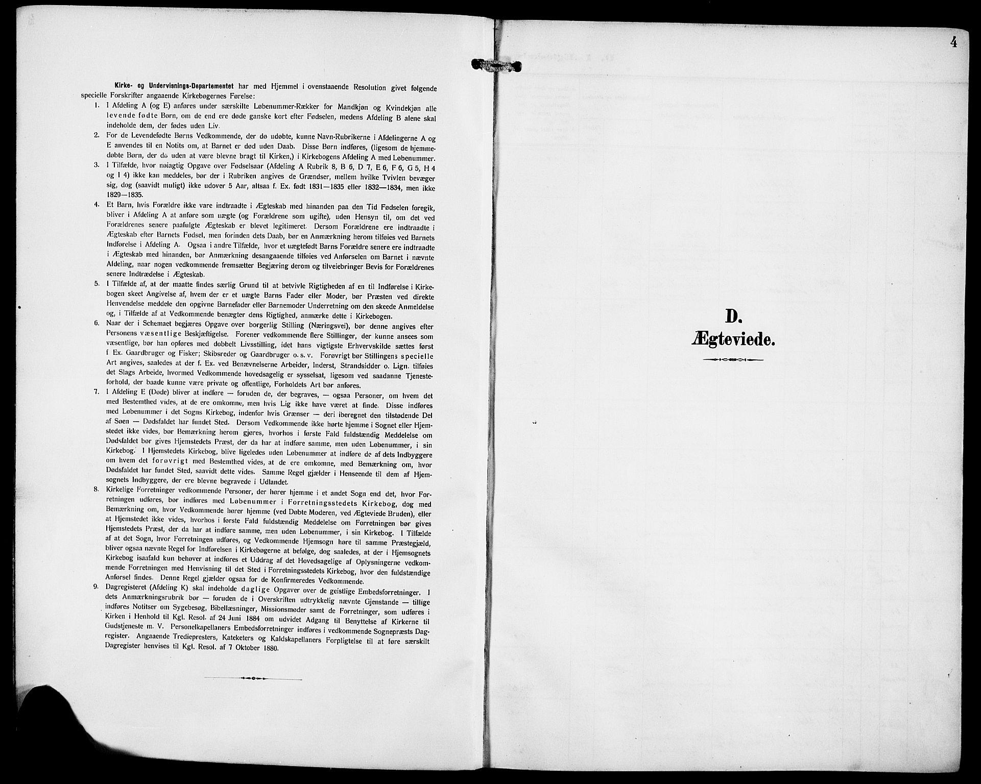 SAB, Domkirken Sokneprestembete, H/Hab/L0033: Klokkerbok nr. D 5, 1907-1924, s. 4
