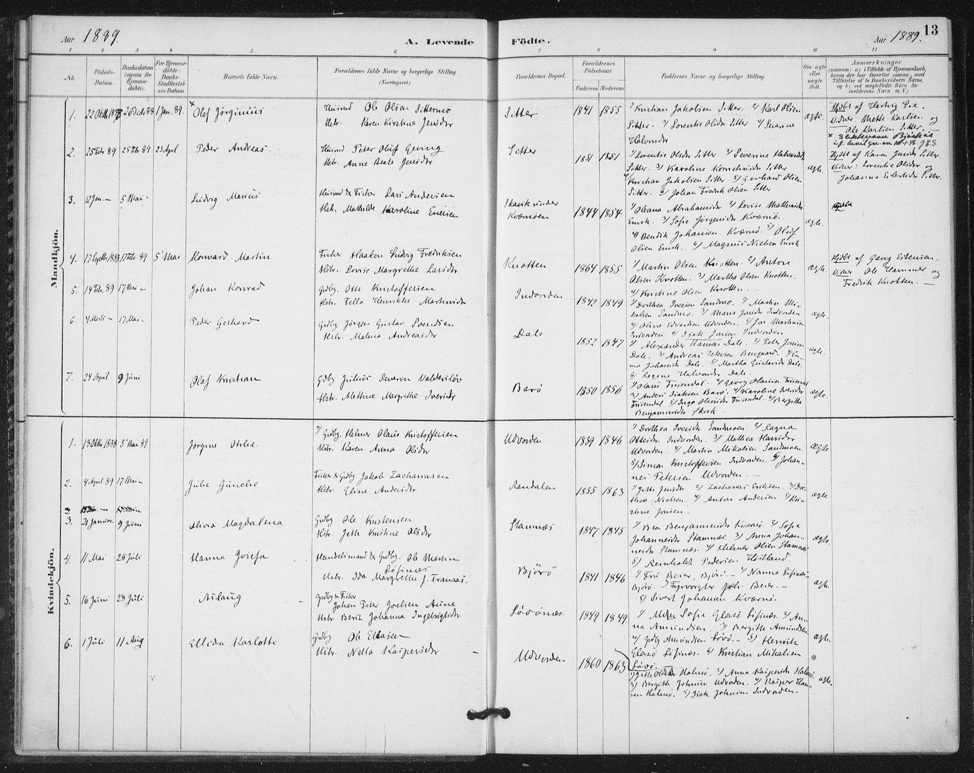 SAT, Ministerialprotokoller, klokkerbøker og fødselsregistre - Nord-Trøndelag, 772/L0603: Ministerialbok nr. 772A01, 1885-1912, s. 13