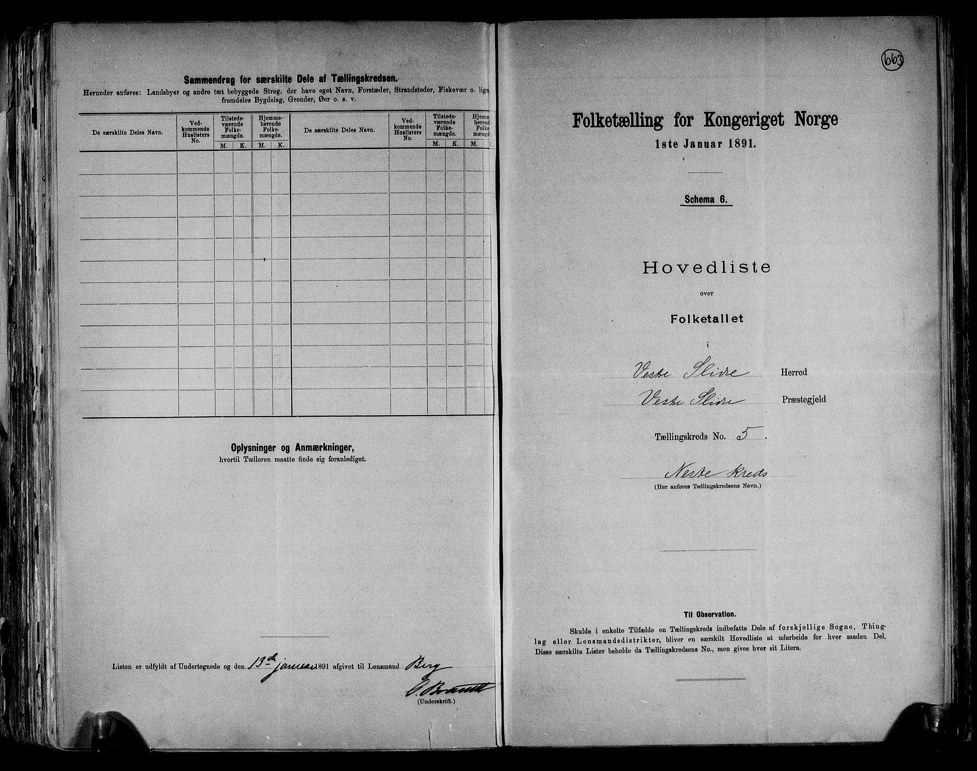 RA, Folketelling 1891 for 0543 Vestre Slidre herred, 1891, s. 16