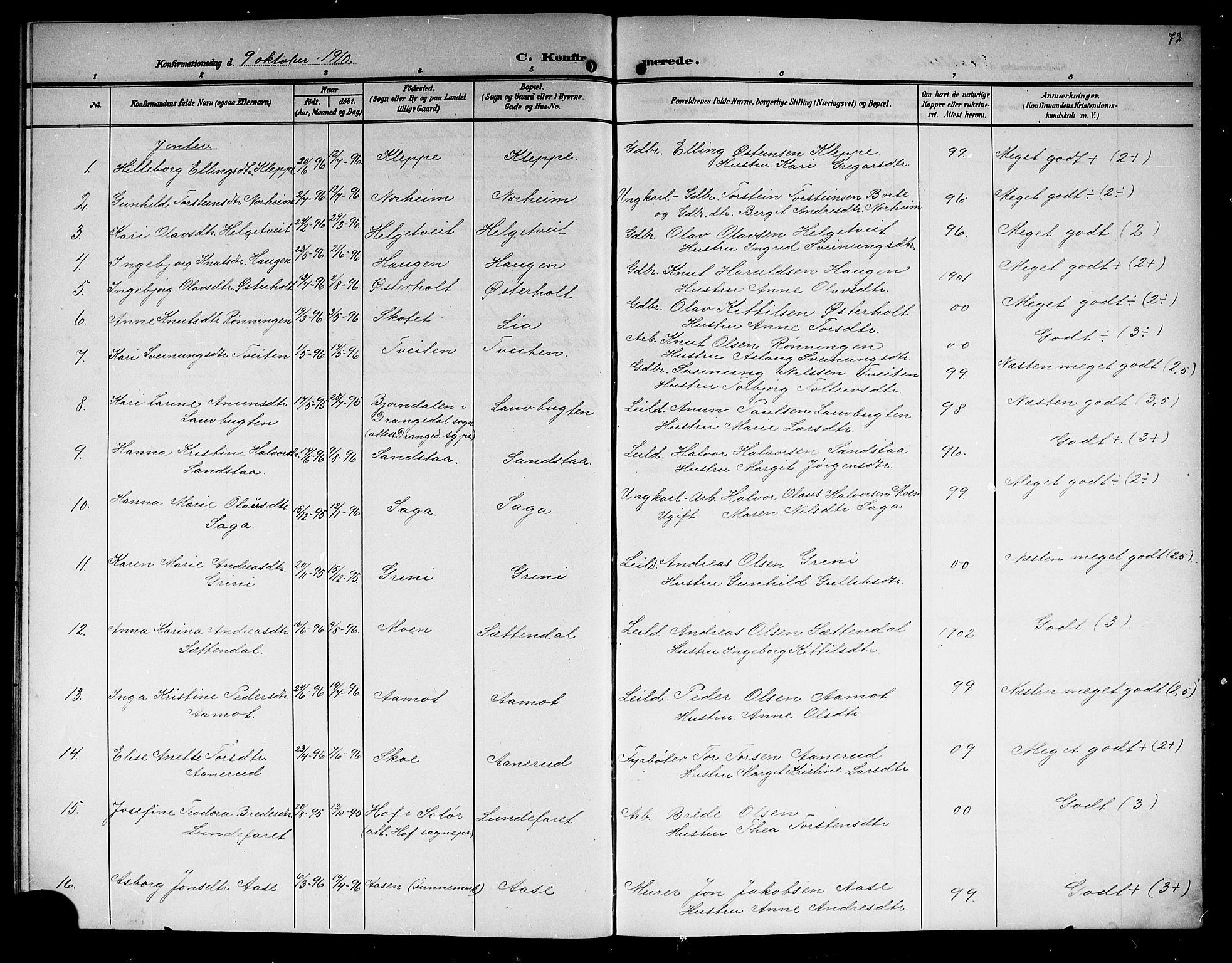 SAKO, Lunde kirkebøker, G/Ga/L0004: Klokkerbok nr. I 4, 1906-1914, s. 72