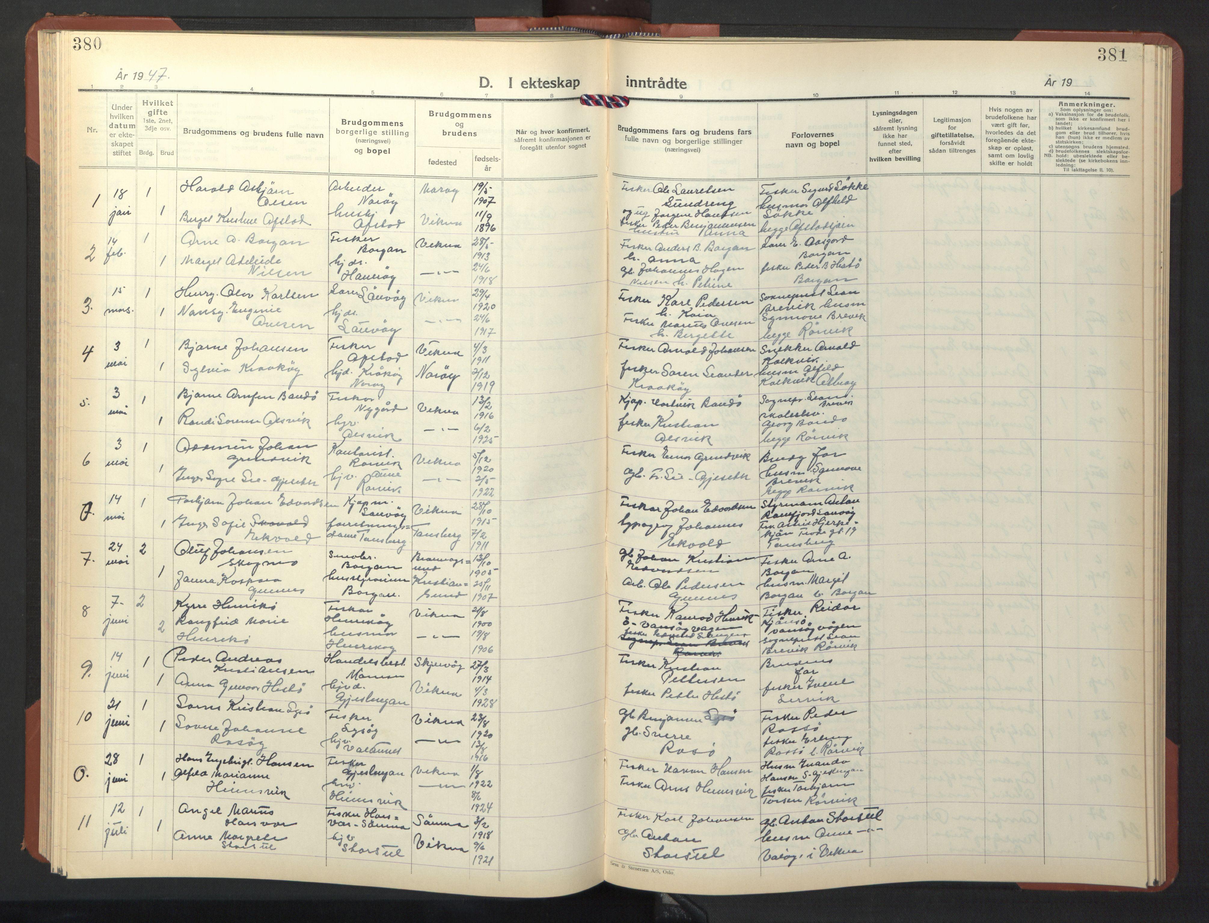 SAT, Ministerialprotokoller, klokkerbøker og fødselsregistre - Nord-Trøndelag, 786/L0689: Klokkerbok nr. 786C01, 1940-1948, s. 380-381