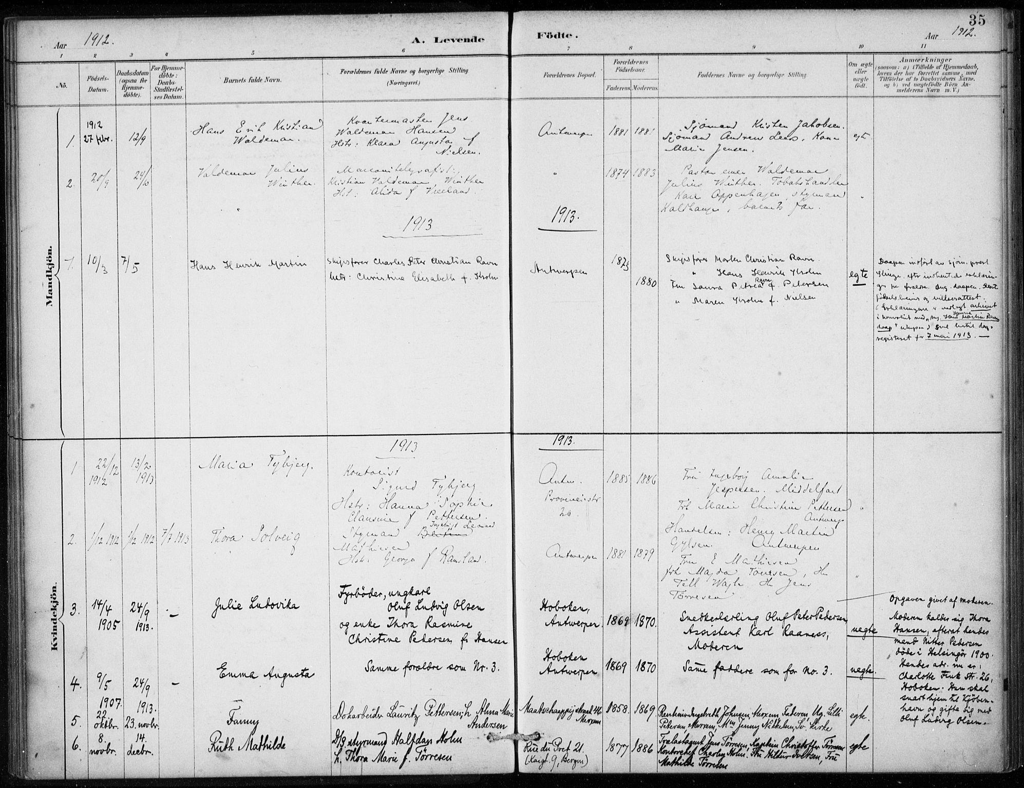 SAB, Den Norske Sjømannsmisjon i utlandet*, Ministerialbok nr. A 2, 1887-1913, s. 35
