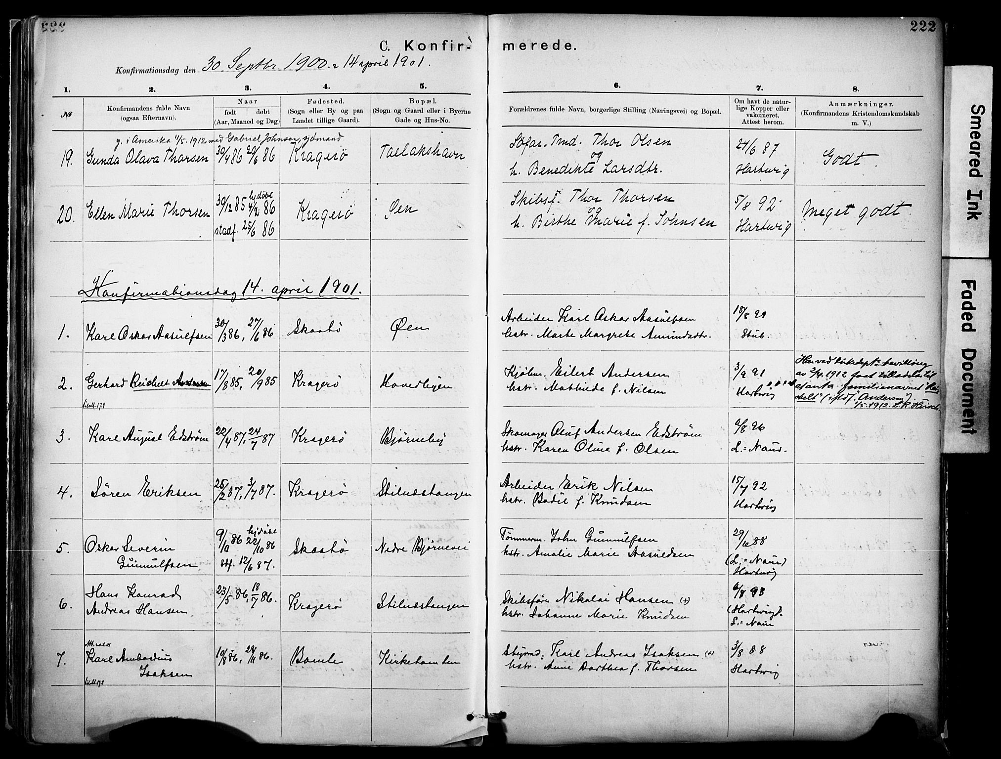 SAKO, Kragerø kirkebøker, F/Fa/L0012: Ministerialbok nr. I 12, 1880-1904, s. 222