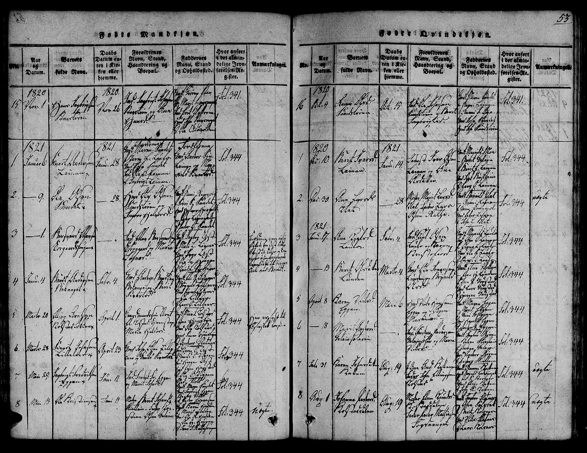 SAT, Ministerialprotokoller, klokkerbøker og fødselsregistre - Sør-Trøndelag, 691/L1067: Ministerialbok nr. 691A03 /3, 1816-1826, s. 53