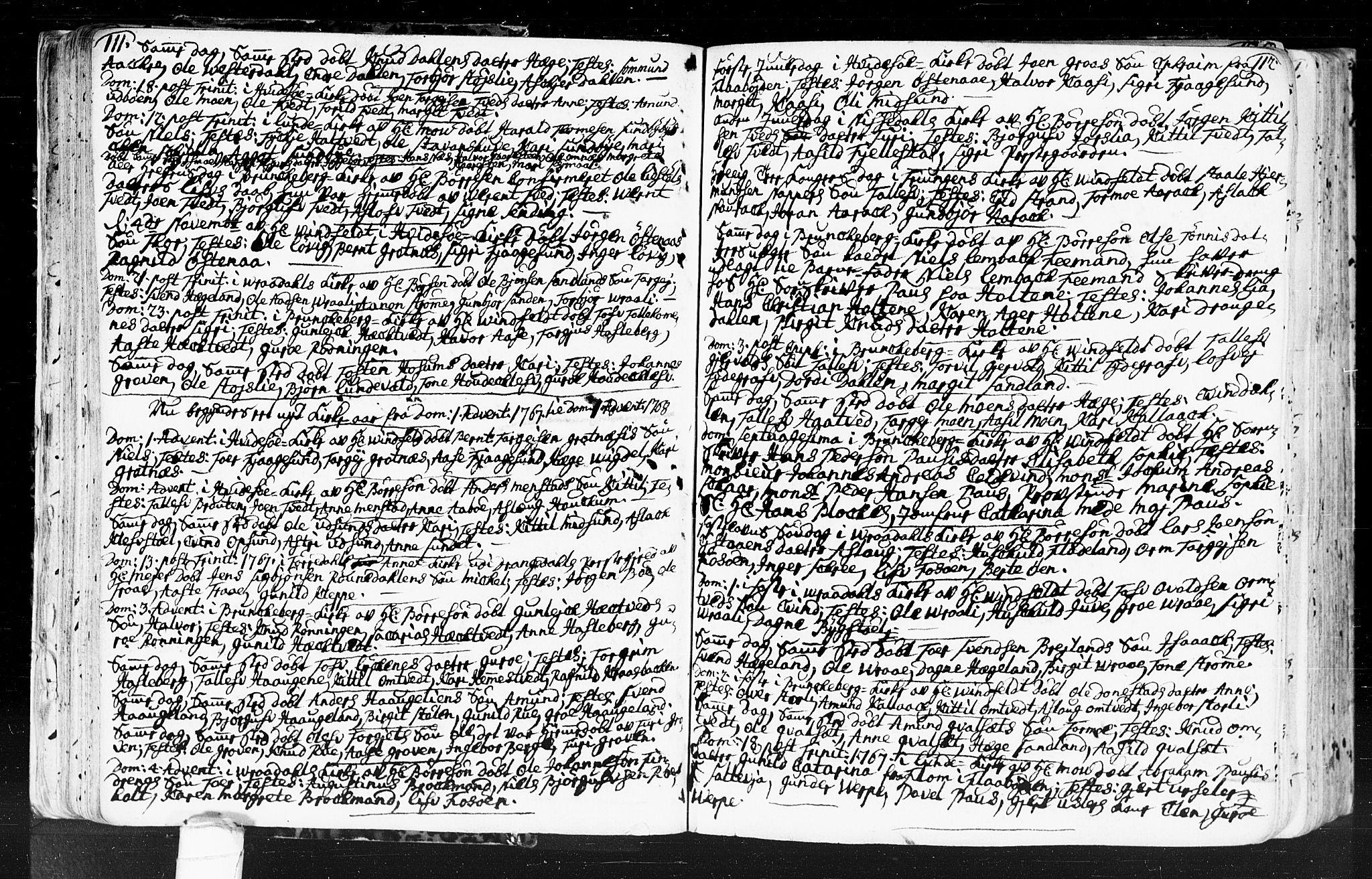 SAKO, Kviteseid kirkebøker, F/Fa/L0001: Ministerialbok nr. I 1, 1754-1773, s. 111-112