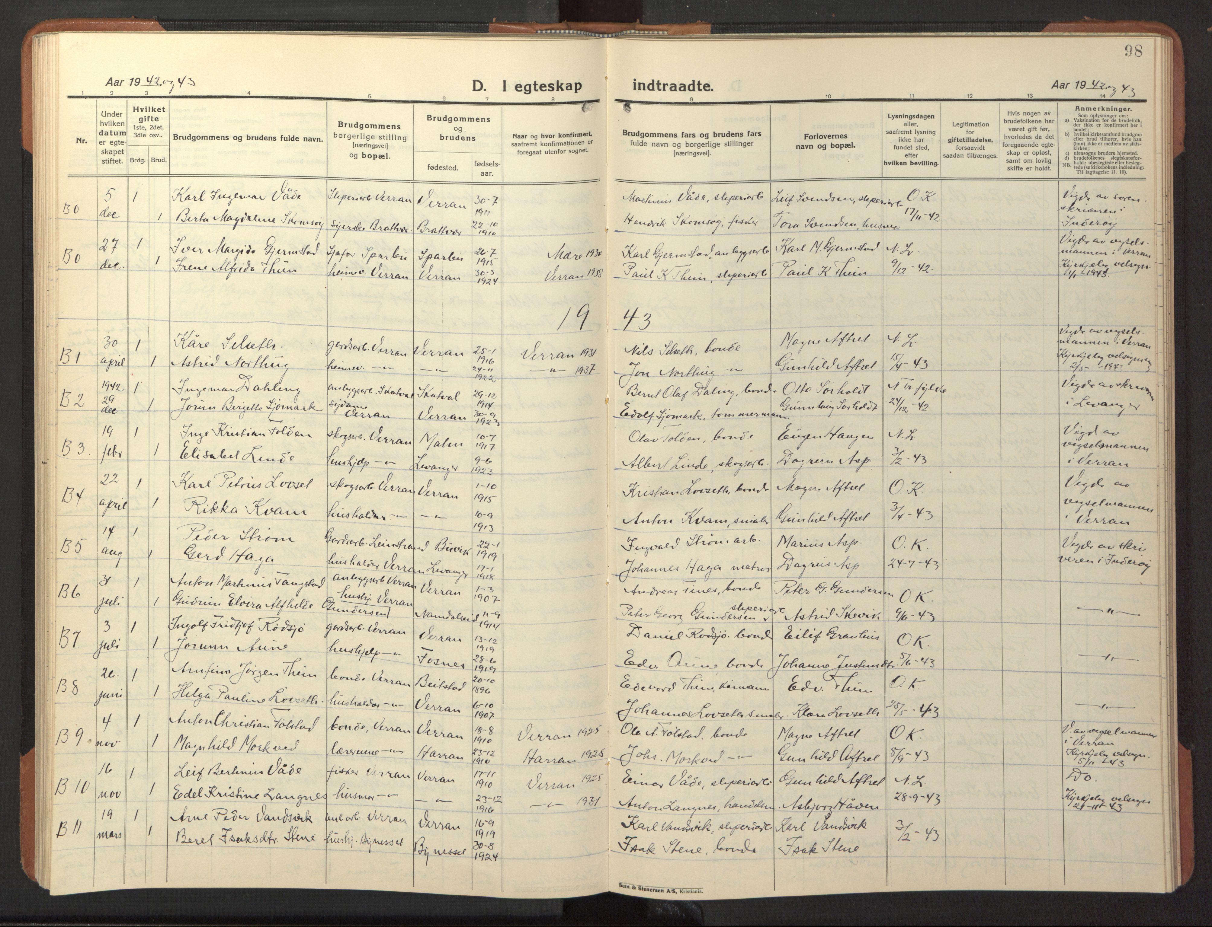 SAT, Ministerialprotokoller, klokkerbøker og fødselsregistre - Nord-Trøndelag, 744/L0425: Klokkerbok nr. 744C04, 1924-1947, s. 98