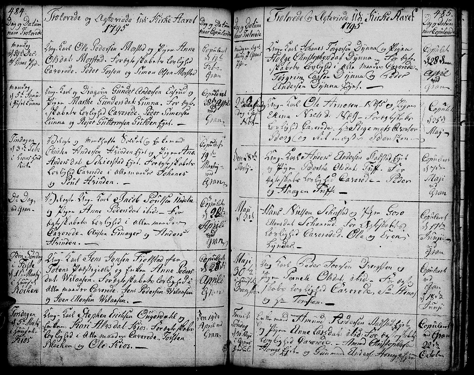 SAH, Gran prestekontor, Ministerialbok nr. 6, 1787-1824, s. 484-485