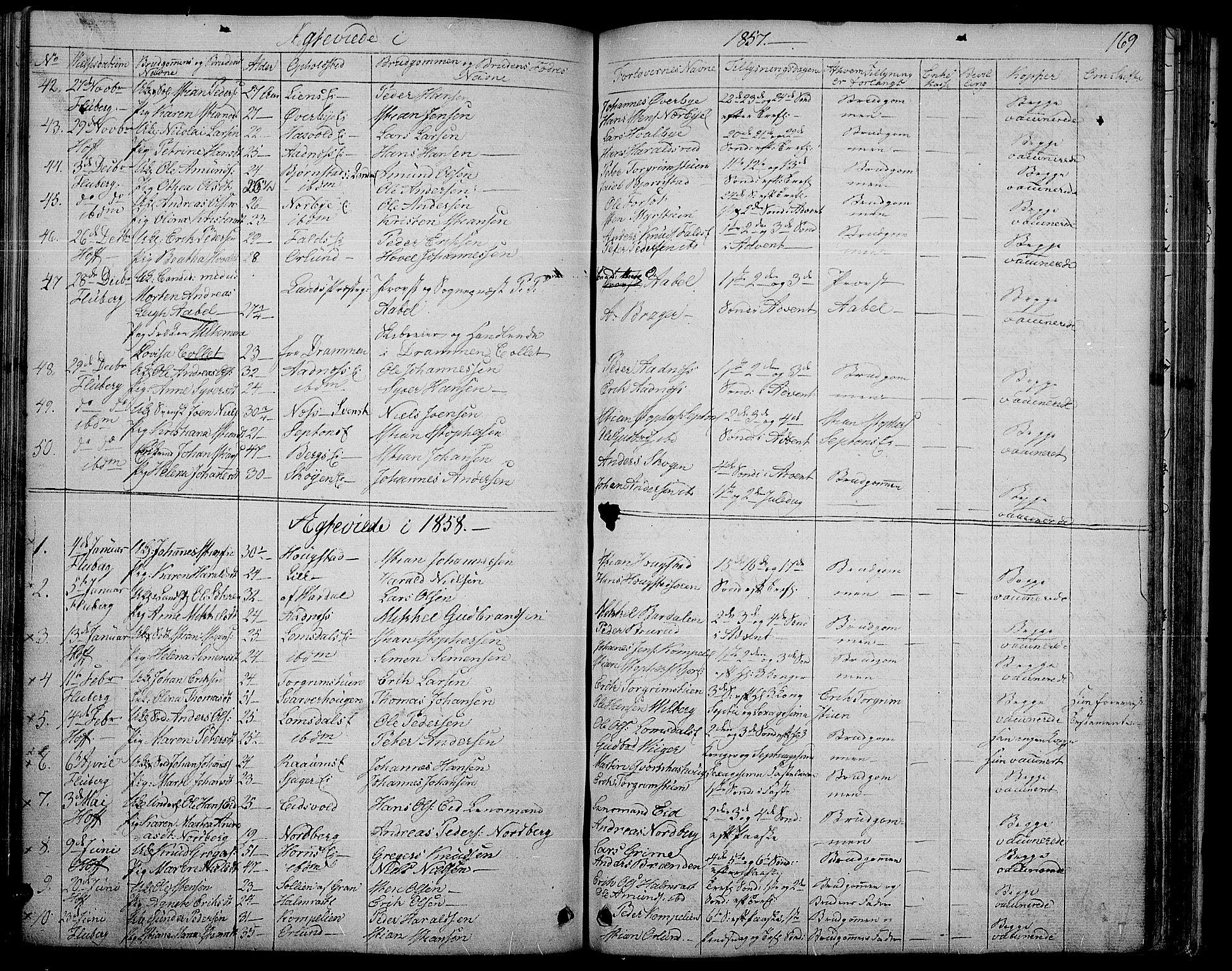 SAH, Søndre Land prestekontor, L/L0001: Klokkerbok nr. 1, 1849-1883, s. 169