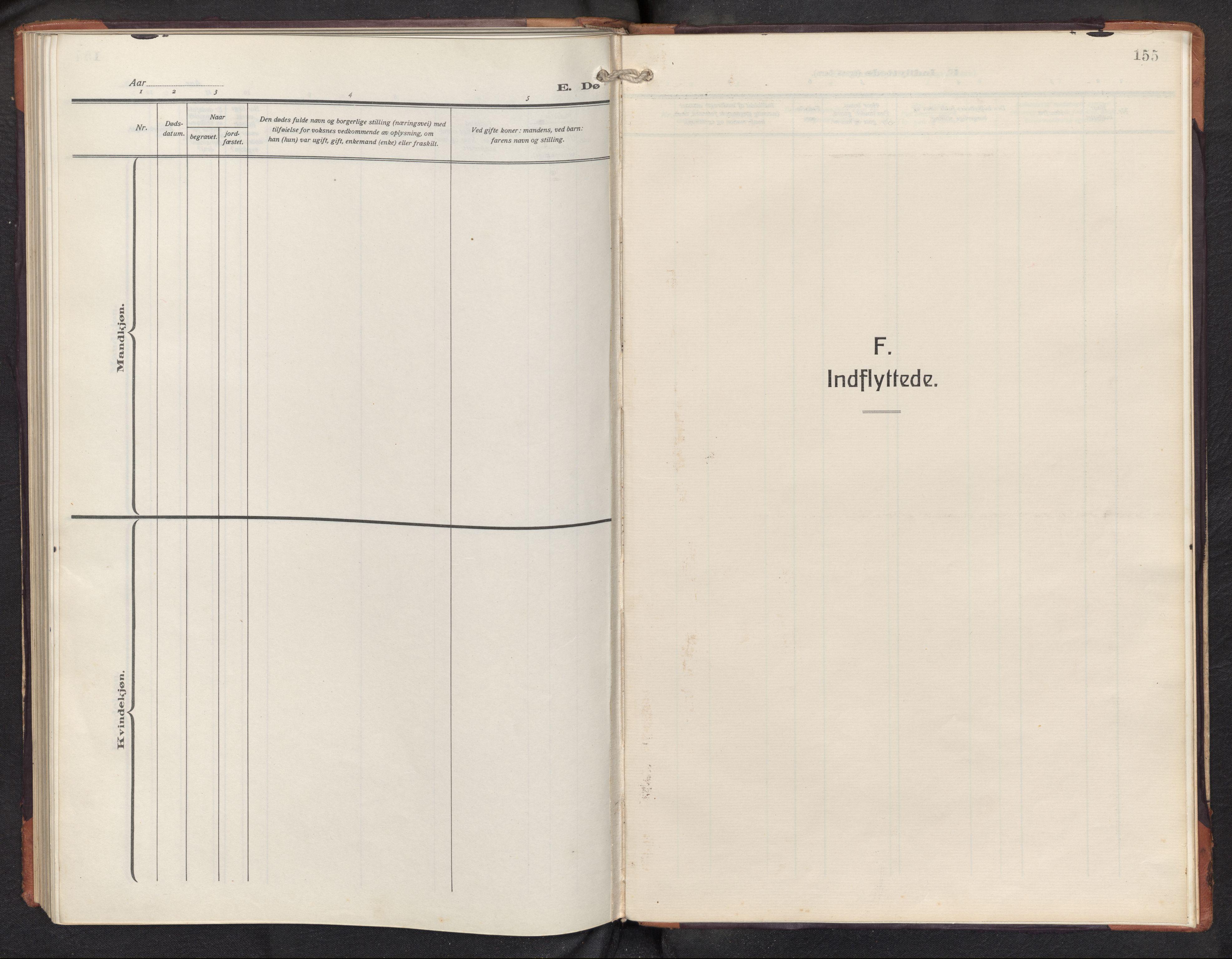 SAB, Aurland sokneprestembete, H/Hb/Hbd/L0003: Klokkerbok nr. D 3, 1920-1968, s. 154b-155a