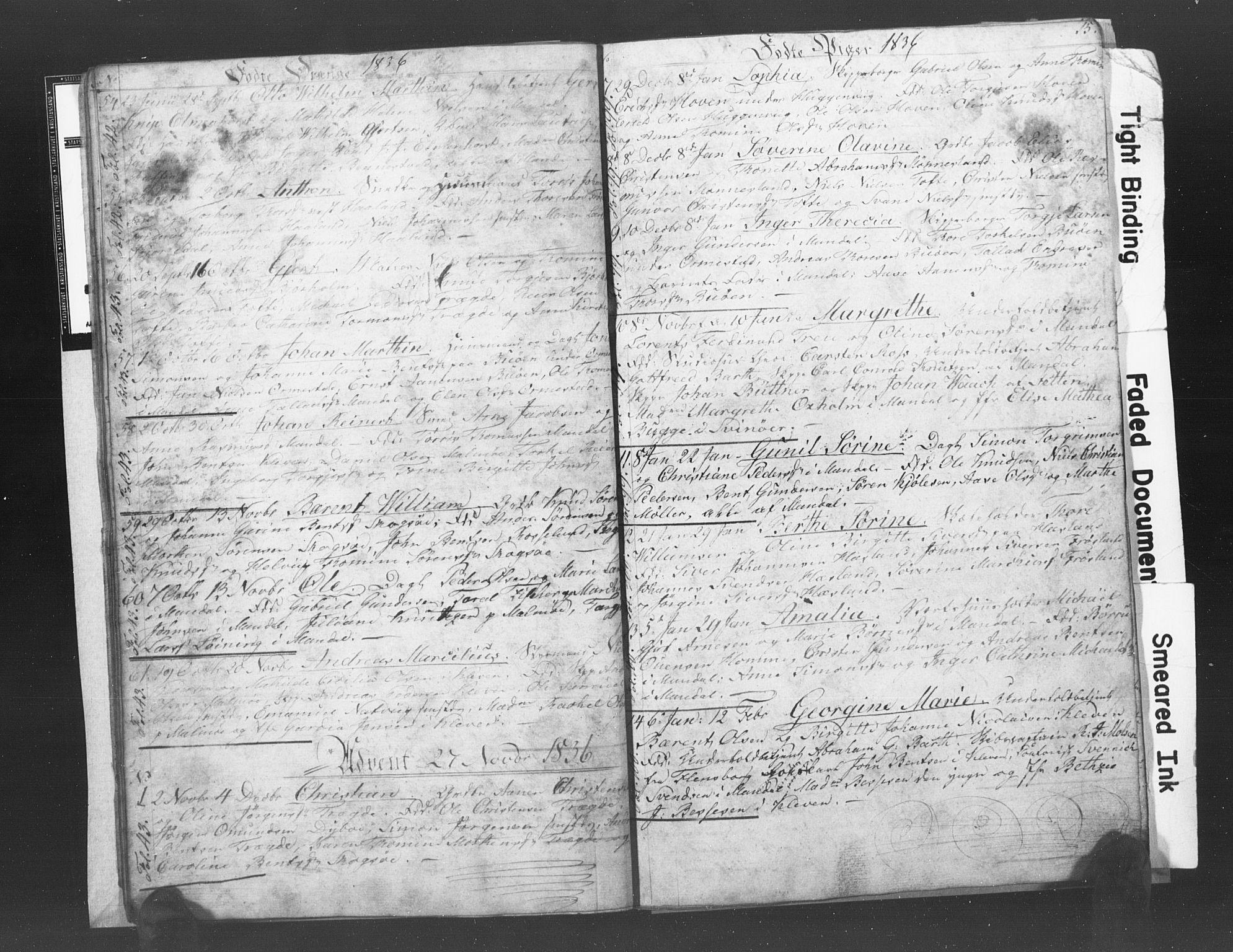 SAK, Mandal sokneprestkontor, F/Fb/Fba/L0003: Klokkerbok nr. B 1C, 1834-1838, s. 15