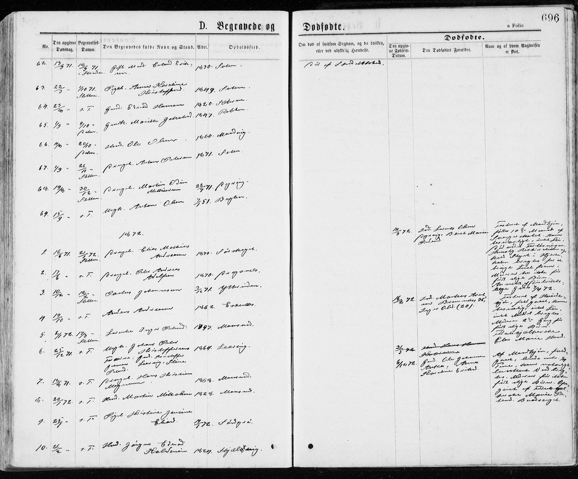 SAT, Ministerialprotokoller, klokkerbøker og fødselsregistre - Sør-Trøndelag, 640/L0576: Ministerialbok nr. 640A01, 1846-1876, s. 696