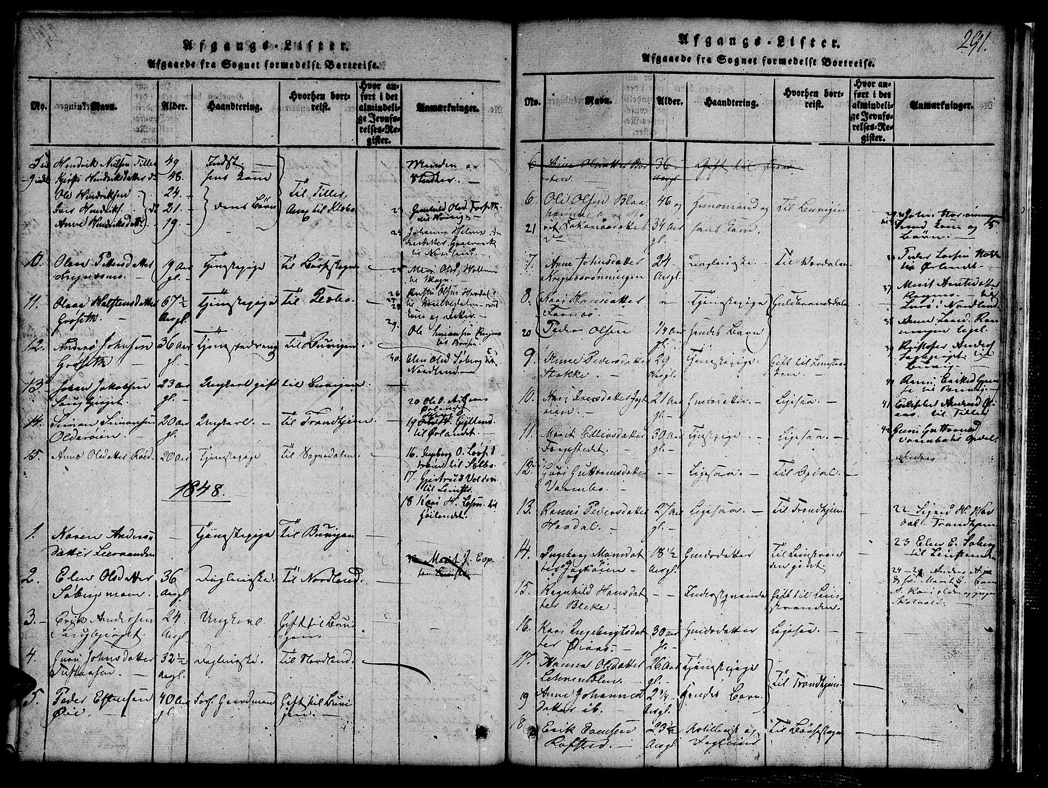 SAT, Ministerialprotokoller, klokkerbøker og fødselsregistre - Sør-Trøndelag, 691/L1092: Klokkerbok nr. 691C03, 1816-1852, s. 291