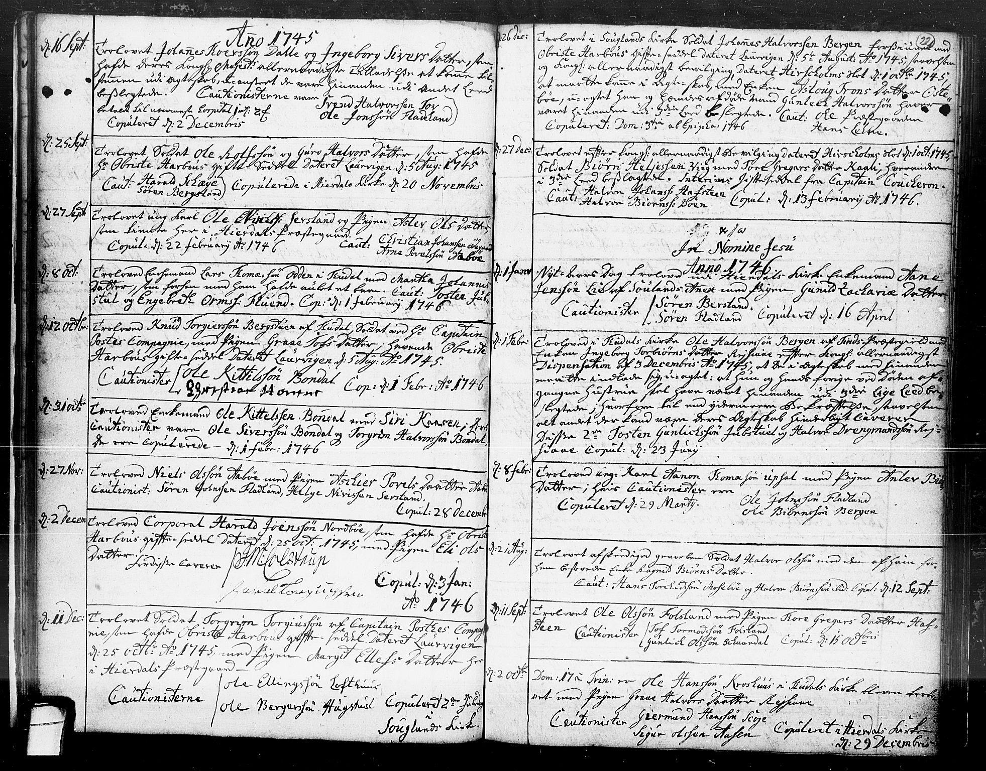SAKO, Hjartdal kirkebøker, F/Fa/L0004: Ministerialbok nr. I 4, 1727-1795, s. 22