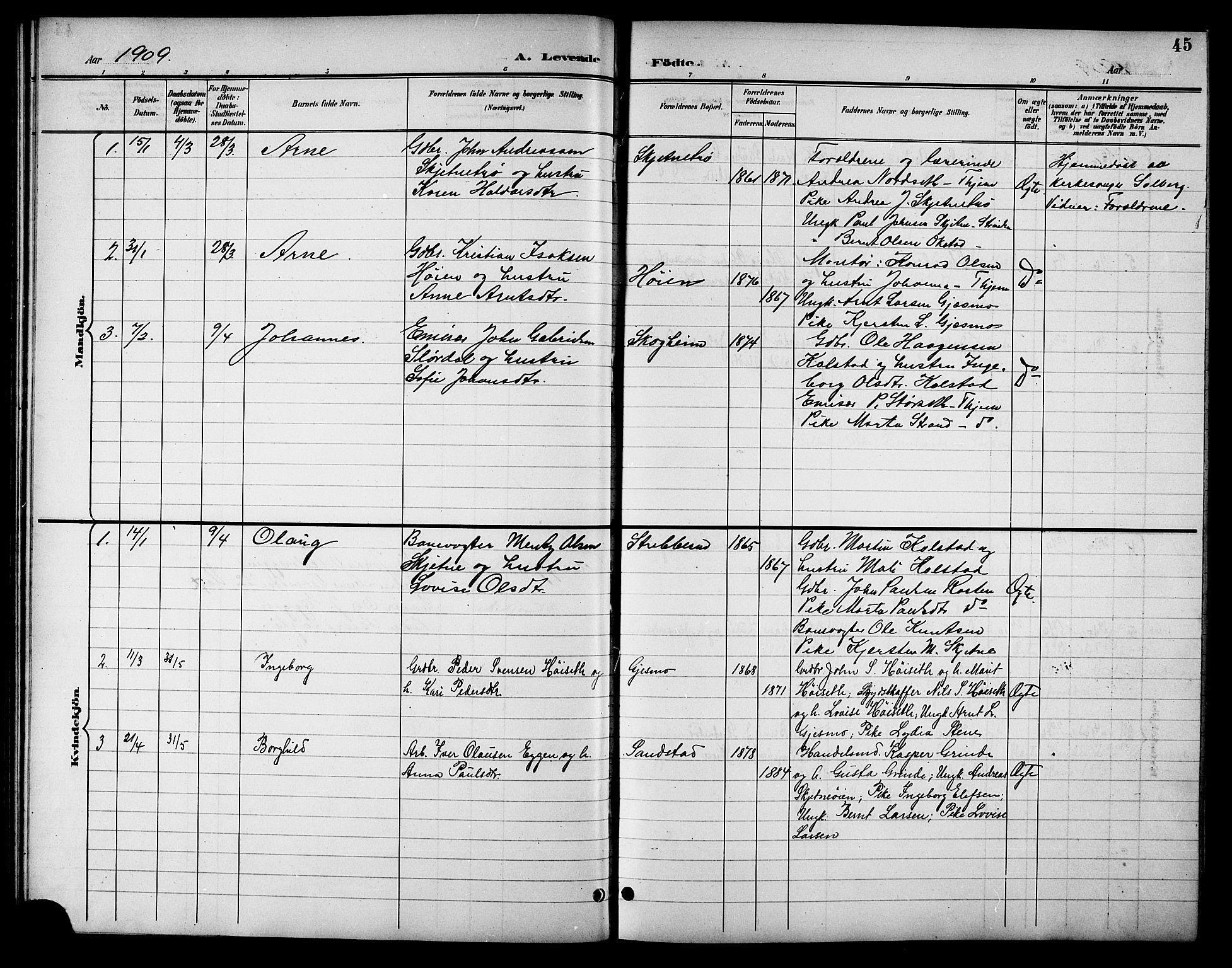 SAT, Ministerialprotokoller, klokkerbøker og fødselsregistre - Sør-Trøndelag, 621/L0460: Klokkerbok nr. 621C03, 1896-1914, s. 45