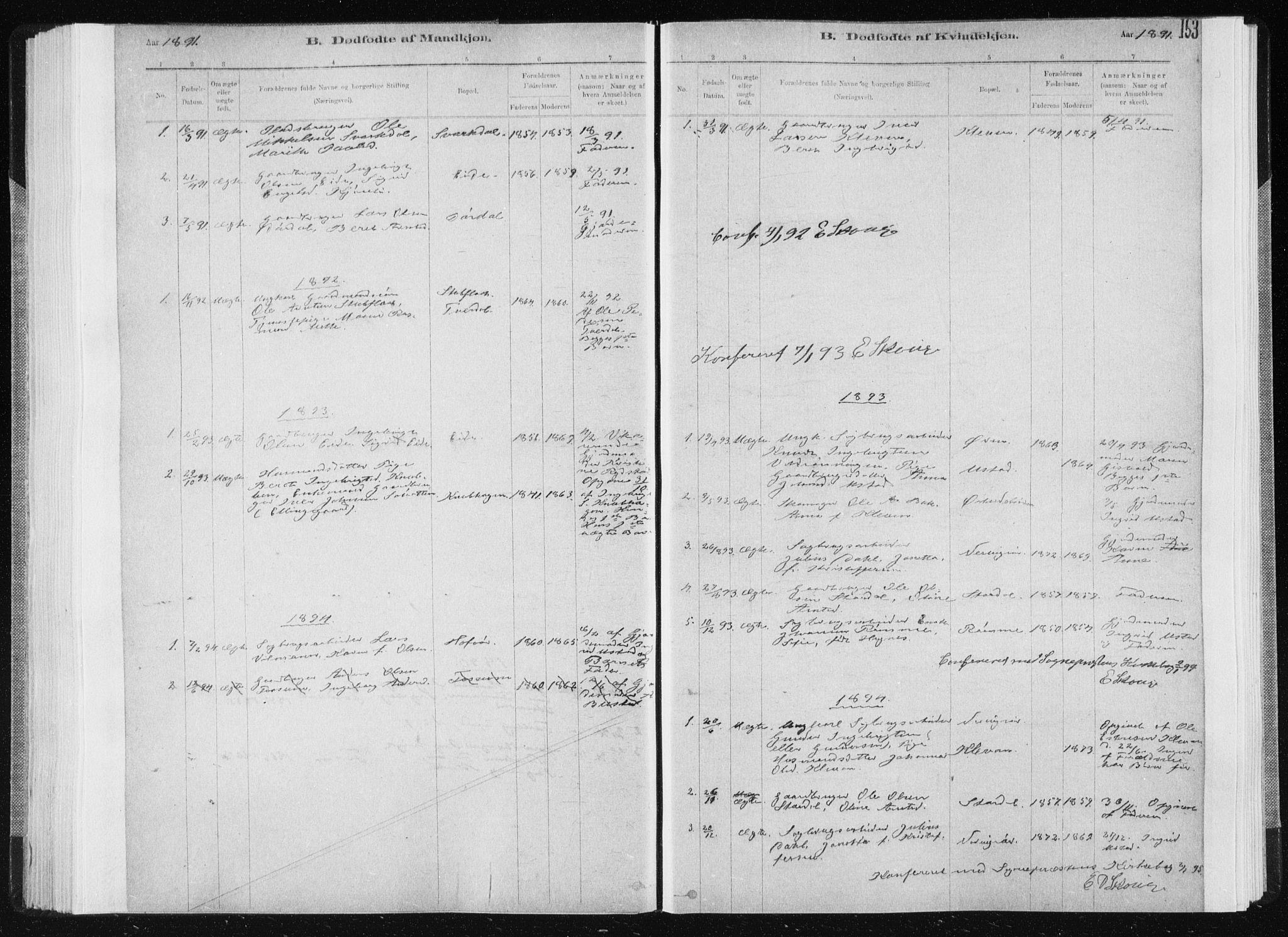 SAT, Ministerialprotokoller, klokkerbøker og fødselsregistre - Sør-Trøndelag, 668/L0818: Klokkerbok nr. 668C07, 1885-1898, s. 153