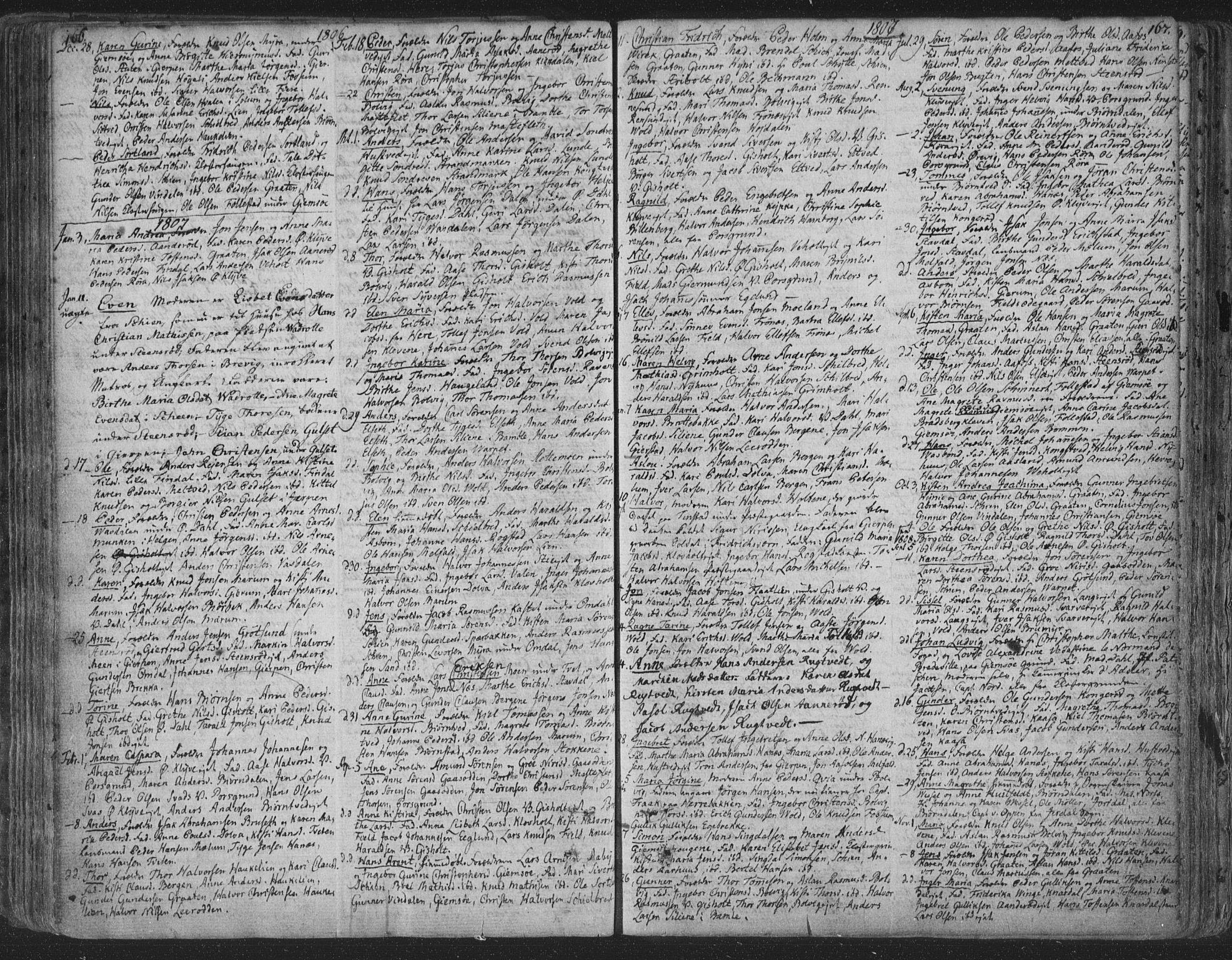 SAKO, Solum kirkebøker, F/Fa/L0003: Ministerialbok nr. I 3, 1761-1814, s. 166-167