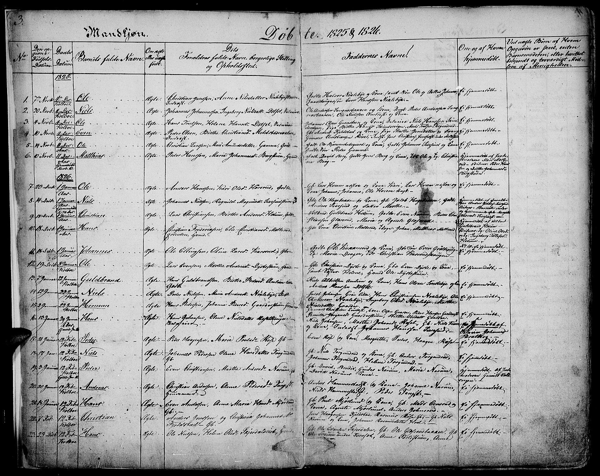 SAH, Vestre Toten prestekontor, Ministerialbok nr. 2, 1825-1837, s. 3