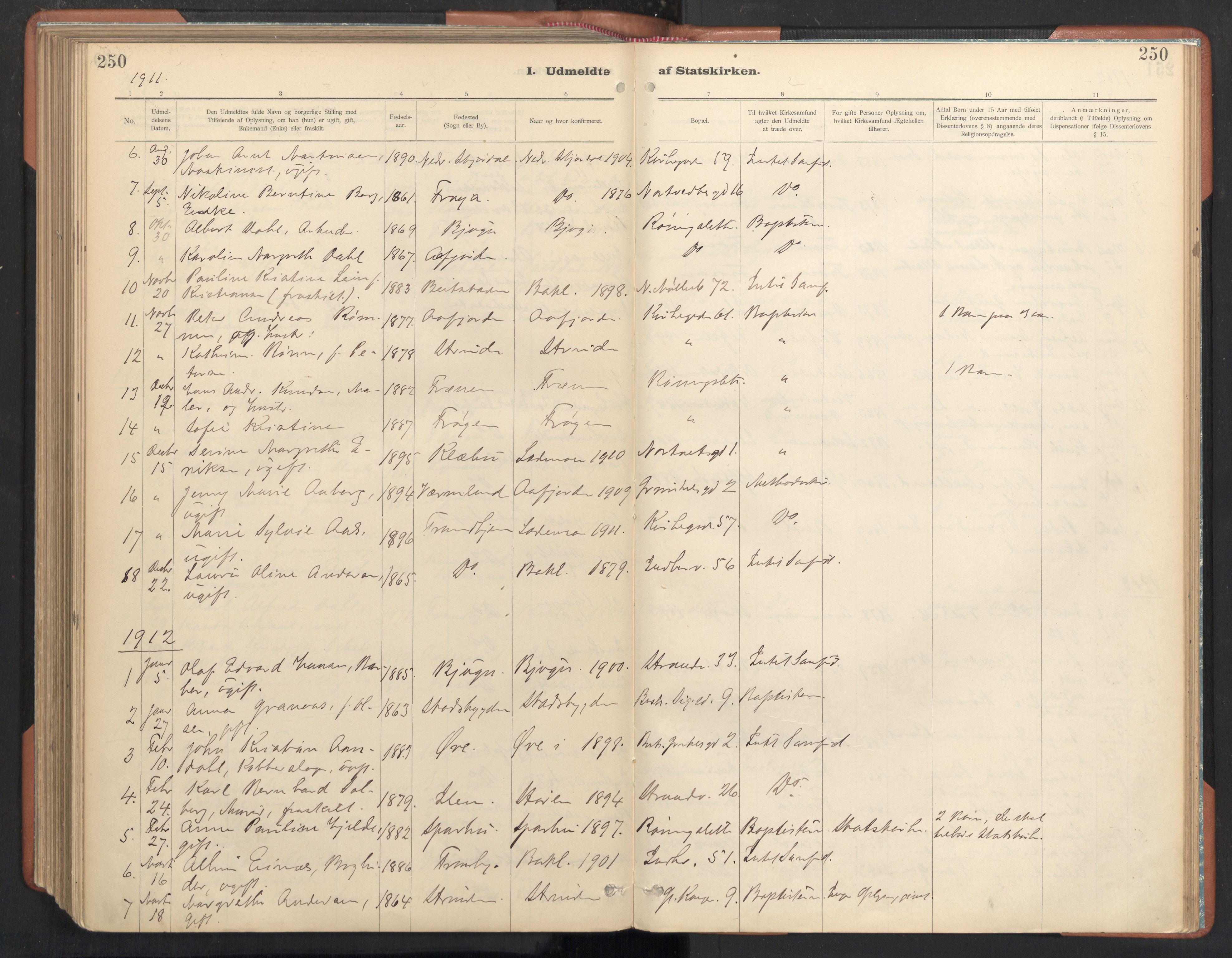 SAT, Ministerialprotokoller, klokkerbøker og fødselsregistre - Sør-Trøndelag, 605/L0244: Ministerialbok nr. 605A06, 1908-1954, s. 250