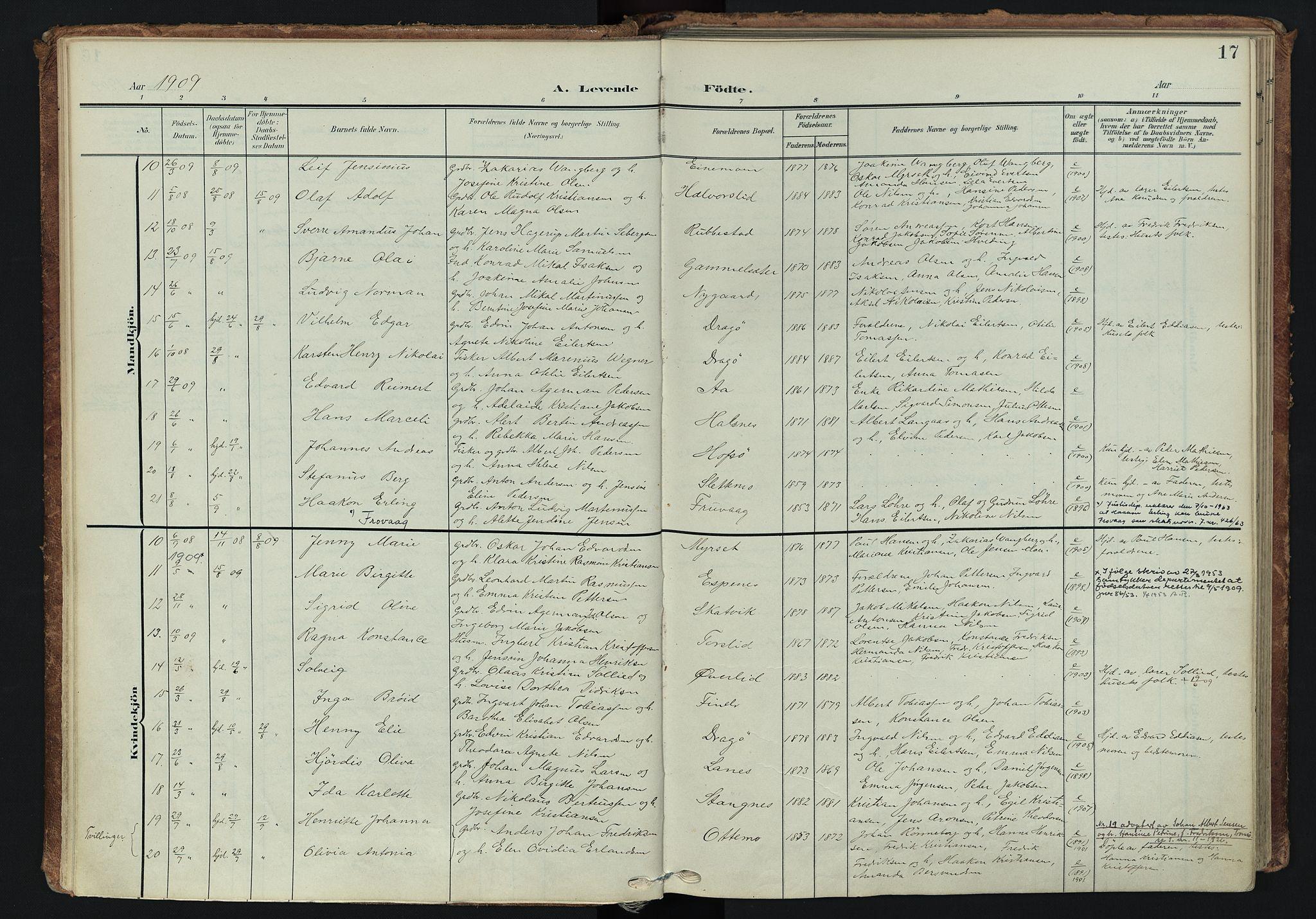 SATØ, Tranøy sokneprestkontor, I/Ia/Iaa/L0014kirke: Ministerialbok nr. 14, 1905-1919, s. 17