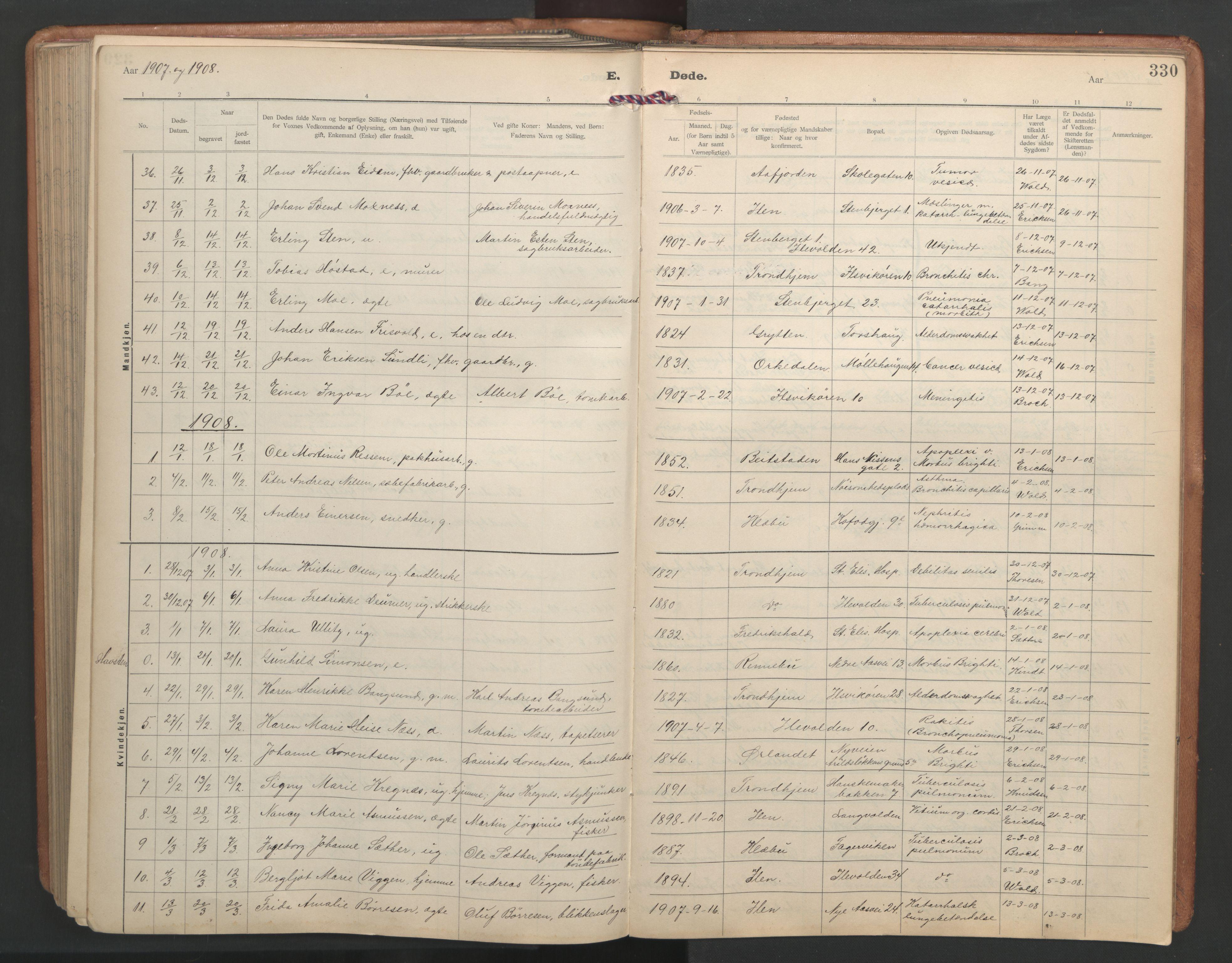 SAT, Ministerialprotokoller, klokkerbøker og fødselsregistre - Sør-Trøndelag, 603/L0173: Klokkerbok nr. 603C01, 1907-1962, s. 330