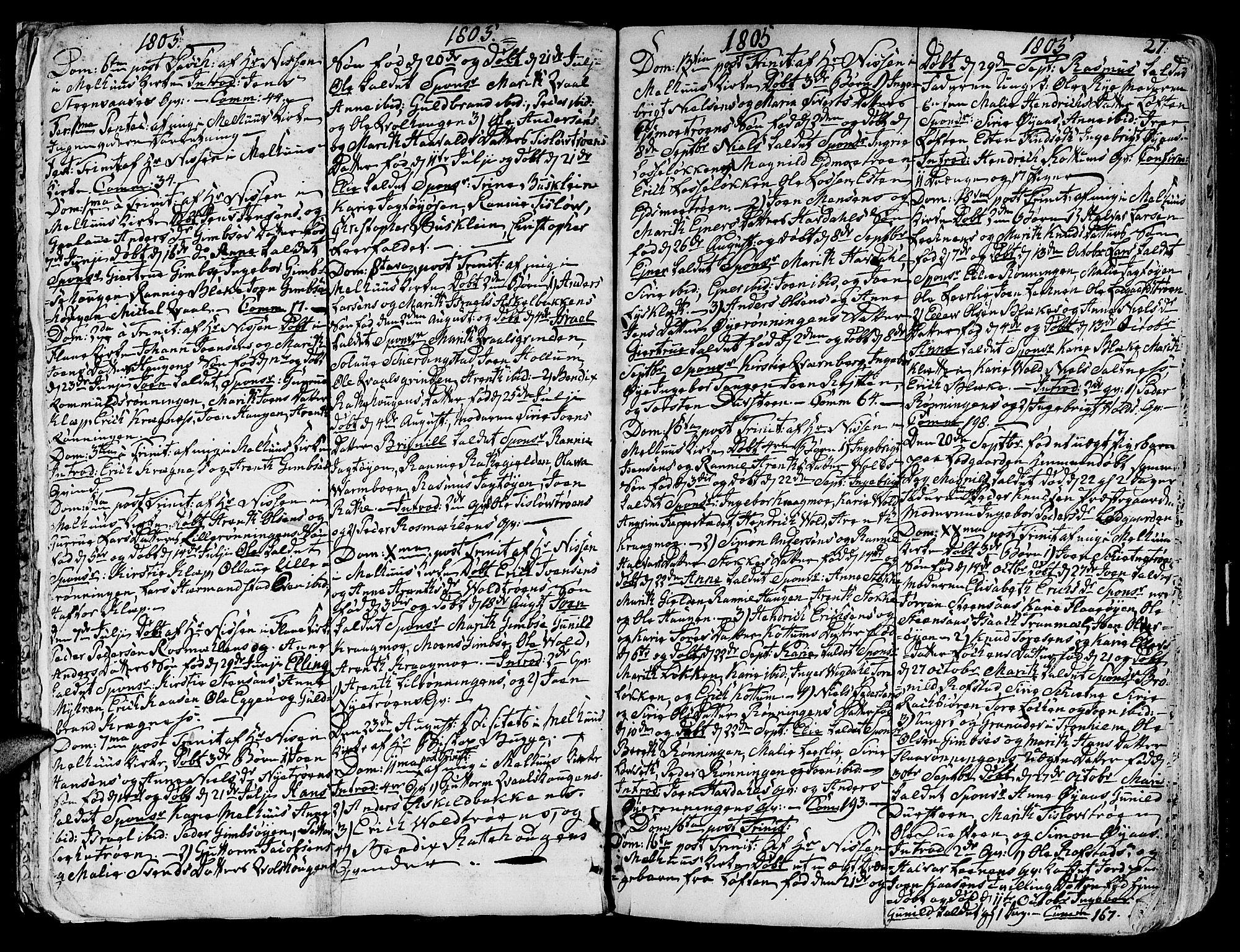 SAT, Ministerialprotokoller, klokkerbøker og fødselsregistre - Sør-Trøndelag, 691/L1061: Ministerialbok nr. 691A02 /1, 1768-1815, s. 27