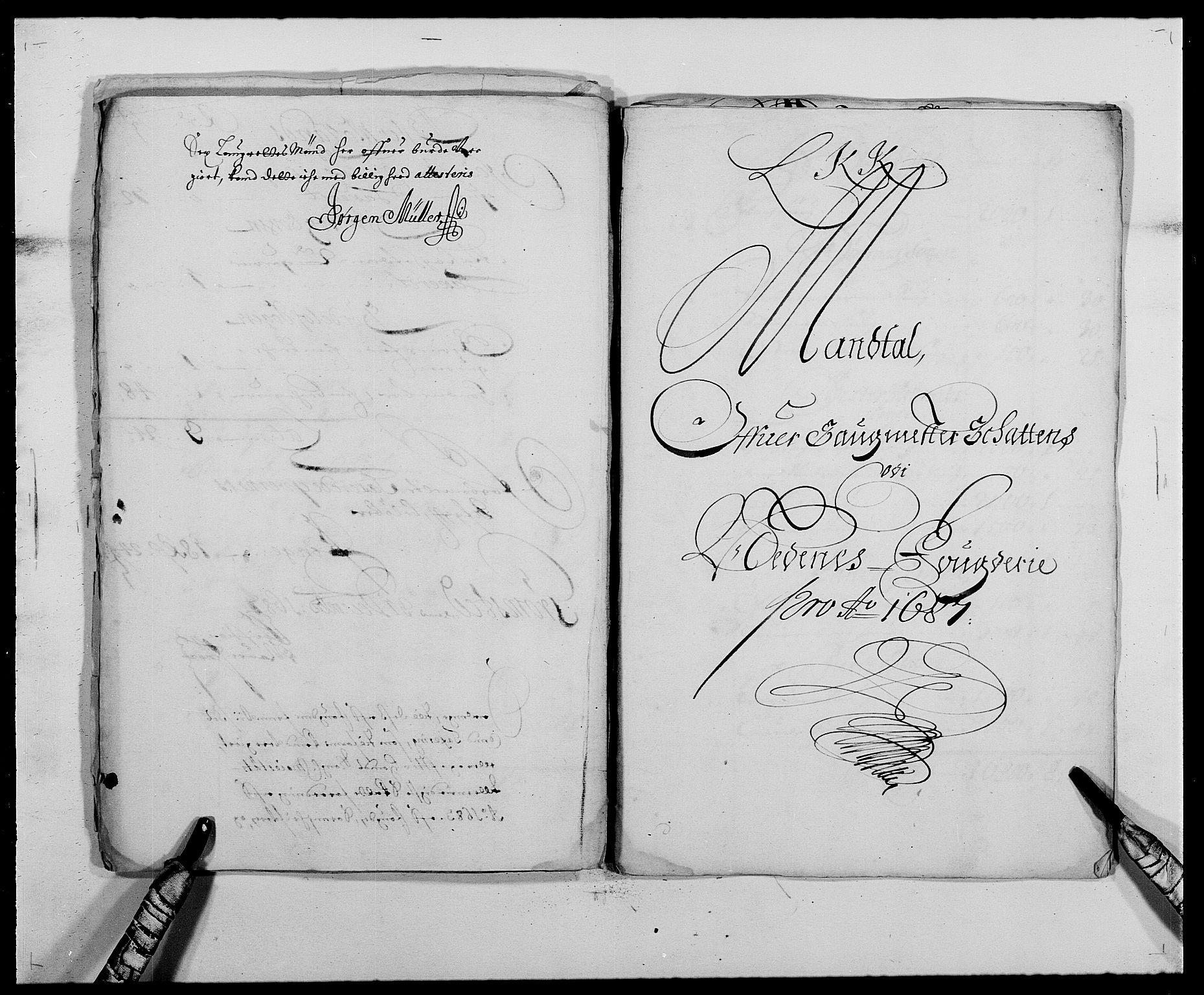 RA, Rentekammeret inntil 1814, Reviderte regnskaper, Fogderegnskap, R39/L2309: Fogderegnskap Nedenes, 1684-1689, s. 95