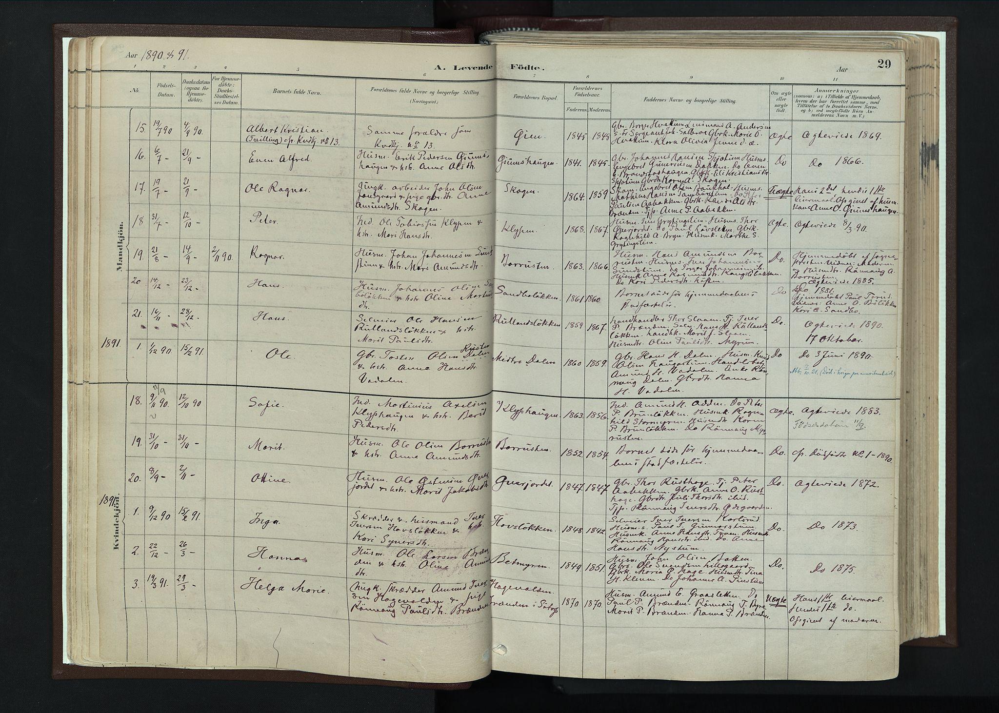 SAH, Nord-Fron prestekontor, Ministerialbok nr. 4, 1884-1914, s. 29