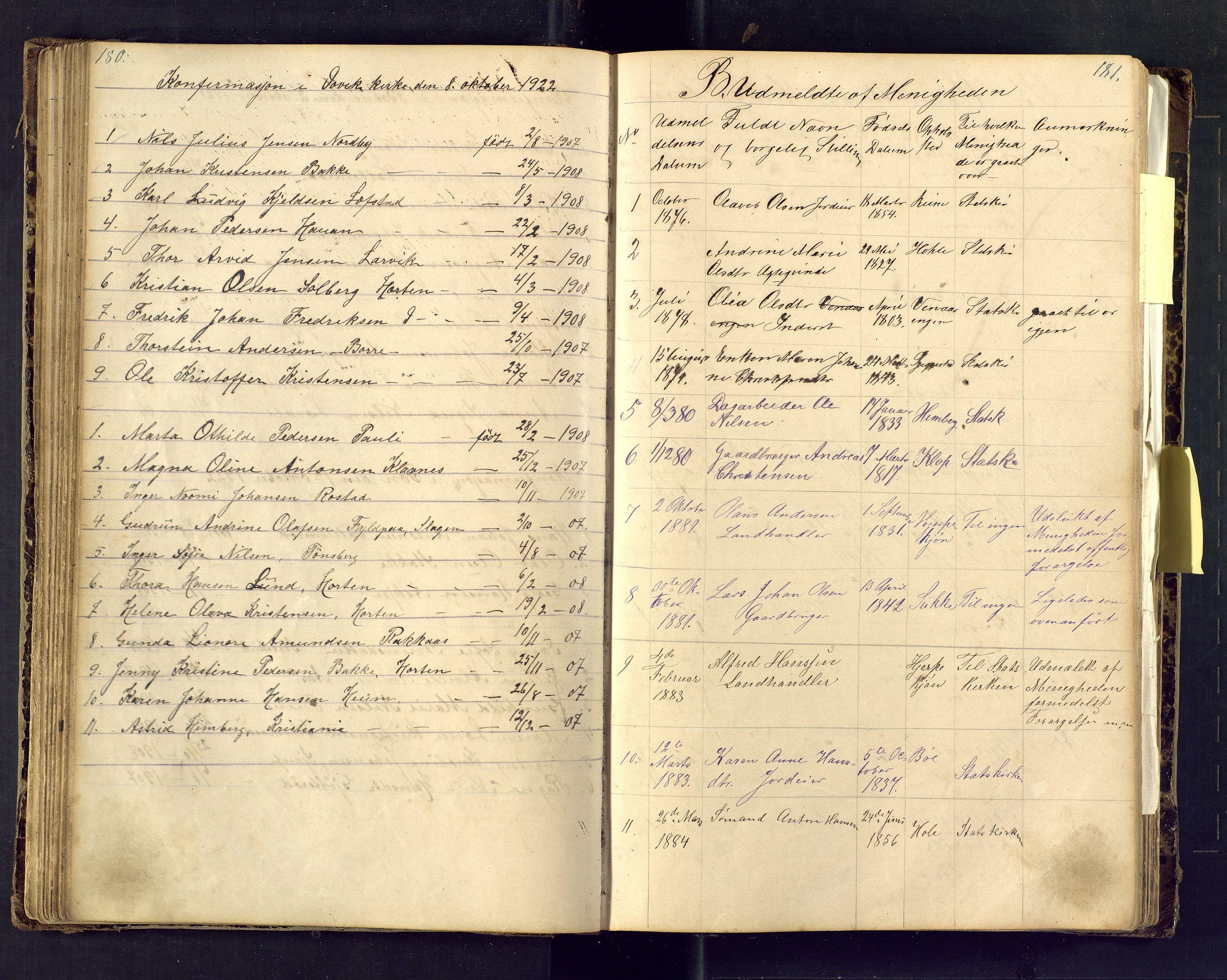 SAKO, Den evangeliske lutherske frimenighet (SAKO), Dissenterprotokoll nr. Fb/L0001, 1872-1907, s. 180-181
