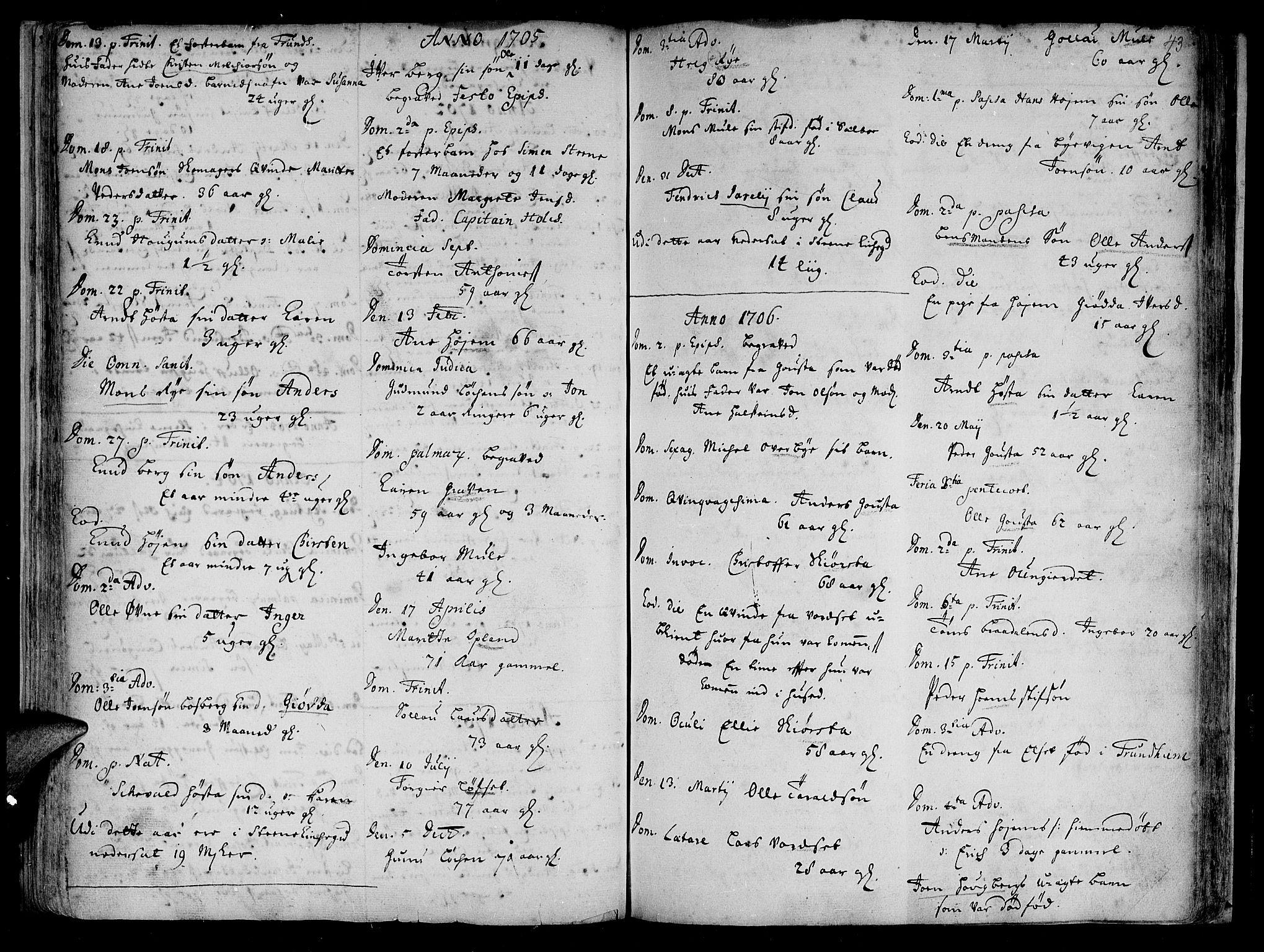 SAT, Ministerialprotokoller, klokkerbøker og fødselsregistre - Sør-Trøndelag, 612/L0368: Ministerialbok nr. 612A02, 1702-1753, s. 43