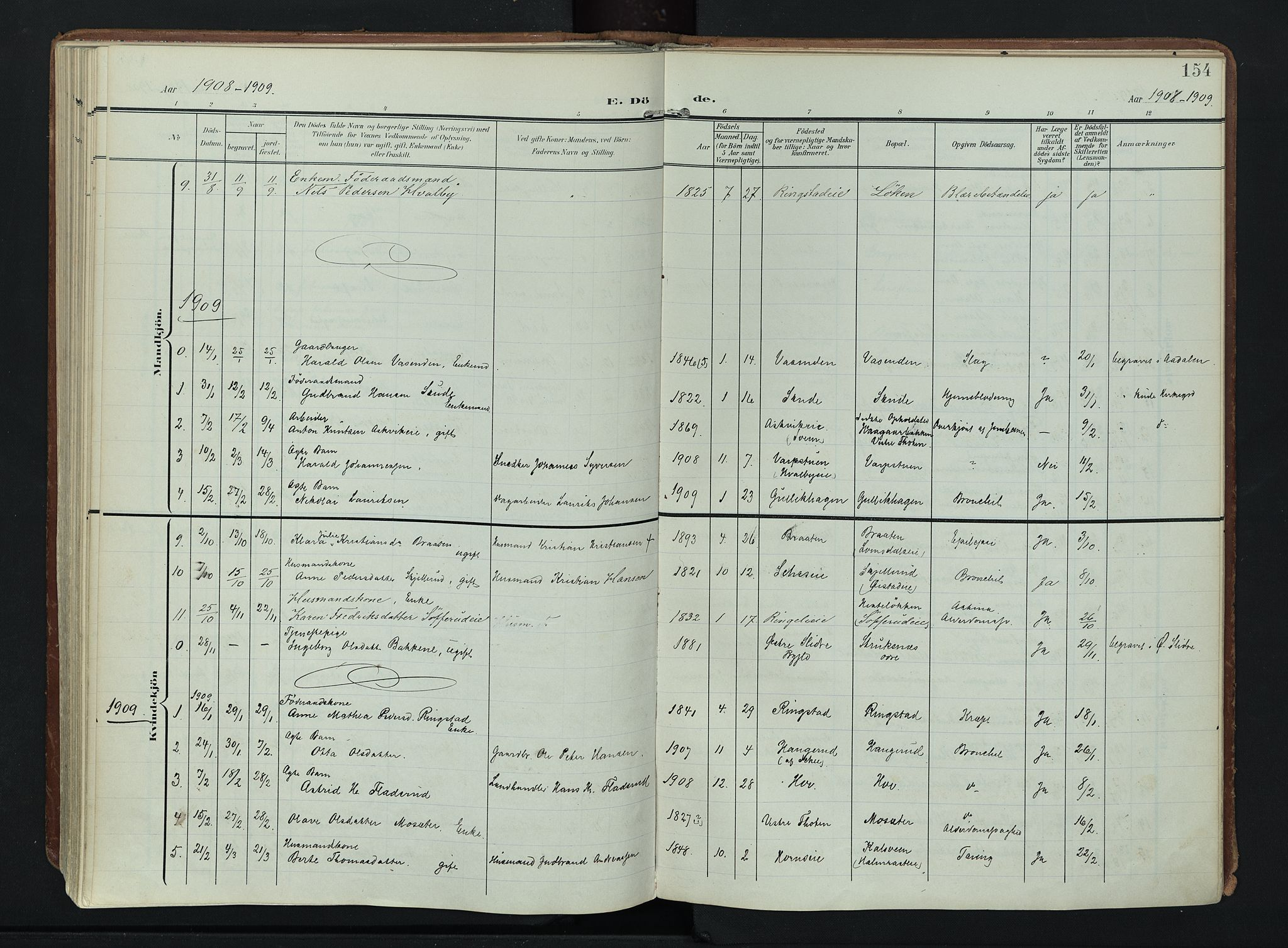SAH, Søndre Land prestekontor, K/L0007: Ministerialbok nr. 7, 1905-1914, s. 154