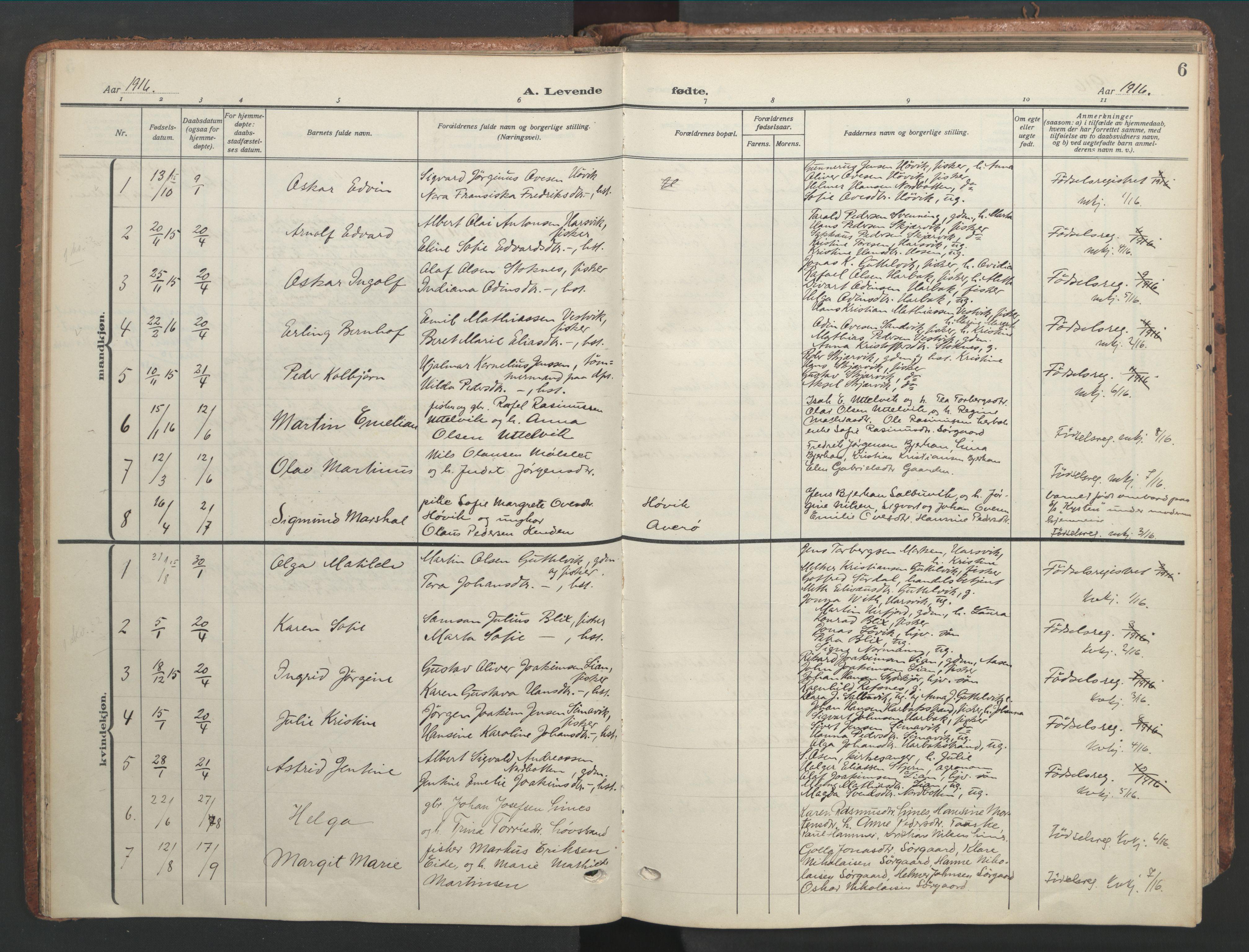 SAT, Ministerialprotokoller, klokkerbøker og fødselsregistre - Sør-Trøndelag, 656/L0694: Ministerialbok nr. 656A03, 1914-1931, s. 6