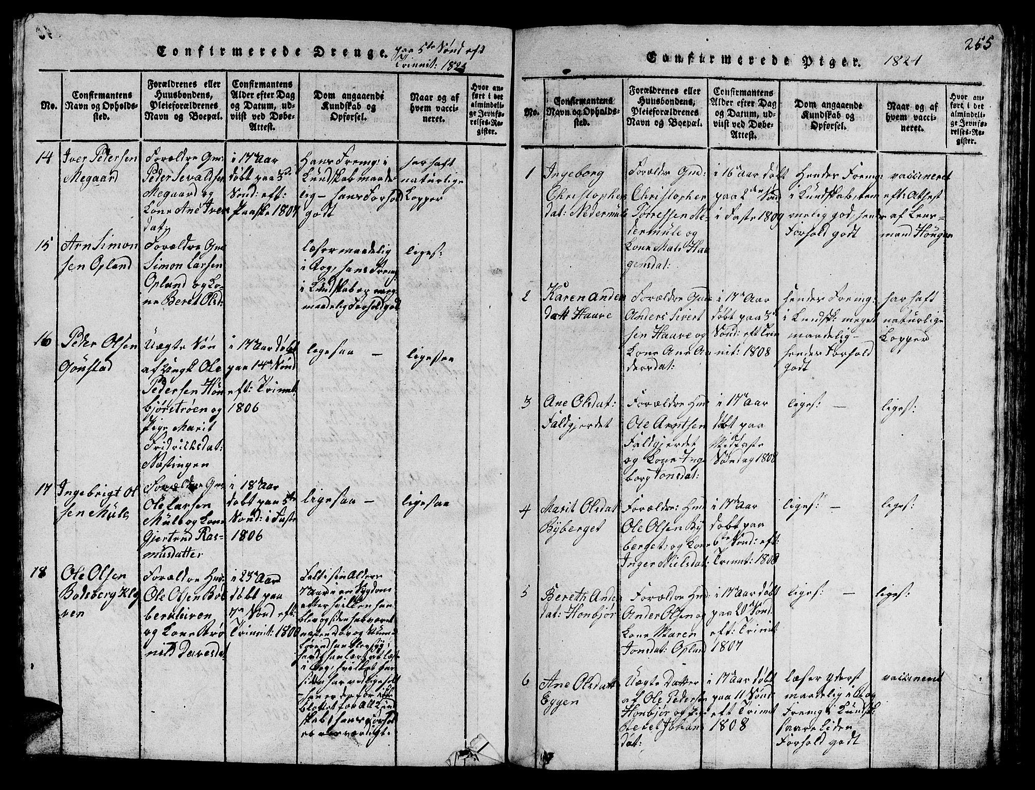 SAT, Ministerialprotokoller, klokkerbøker og fødselsregistre - Sør-Trøndelag, 612/L0385: Klokkerbok nr. 612C01, 1816-1845, s. 255
