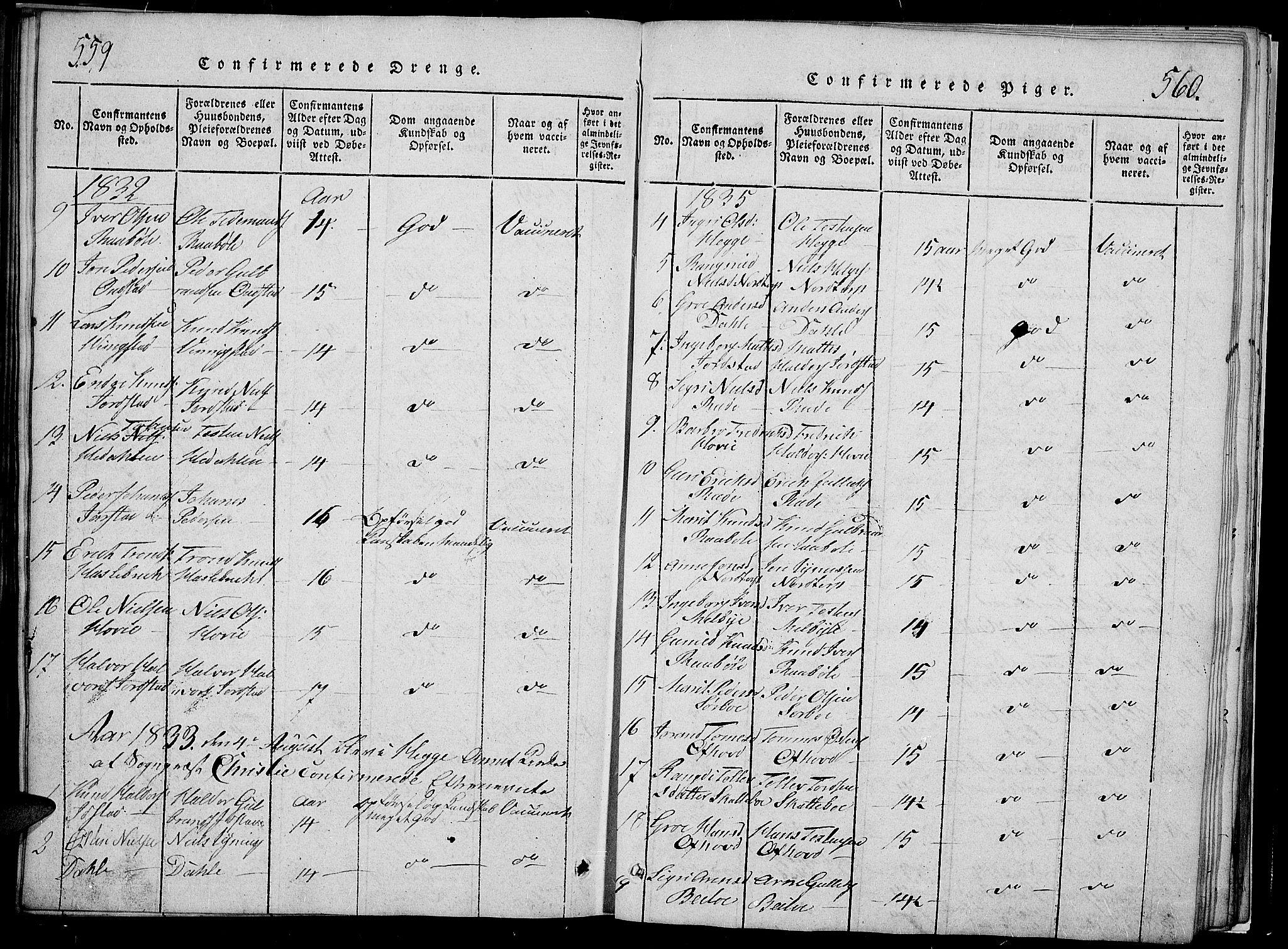 SAH, Slidre prestekontor, Klokkerbok nr. 2, 1814-1839, s. 559-560