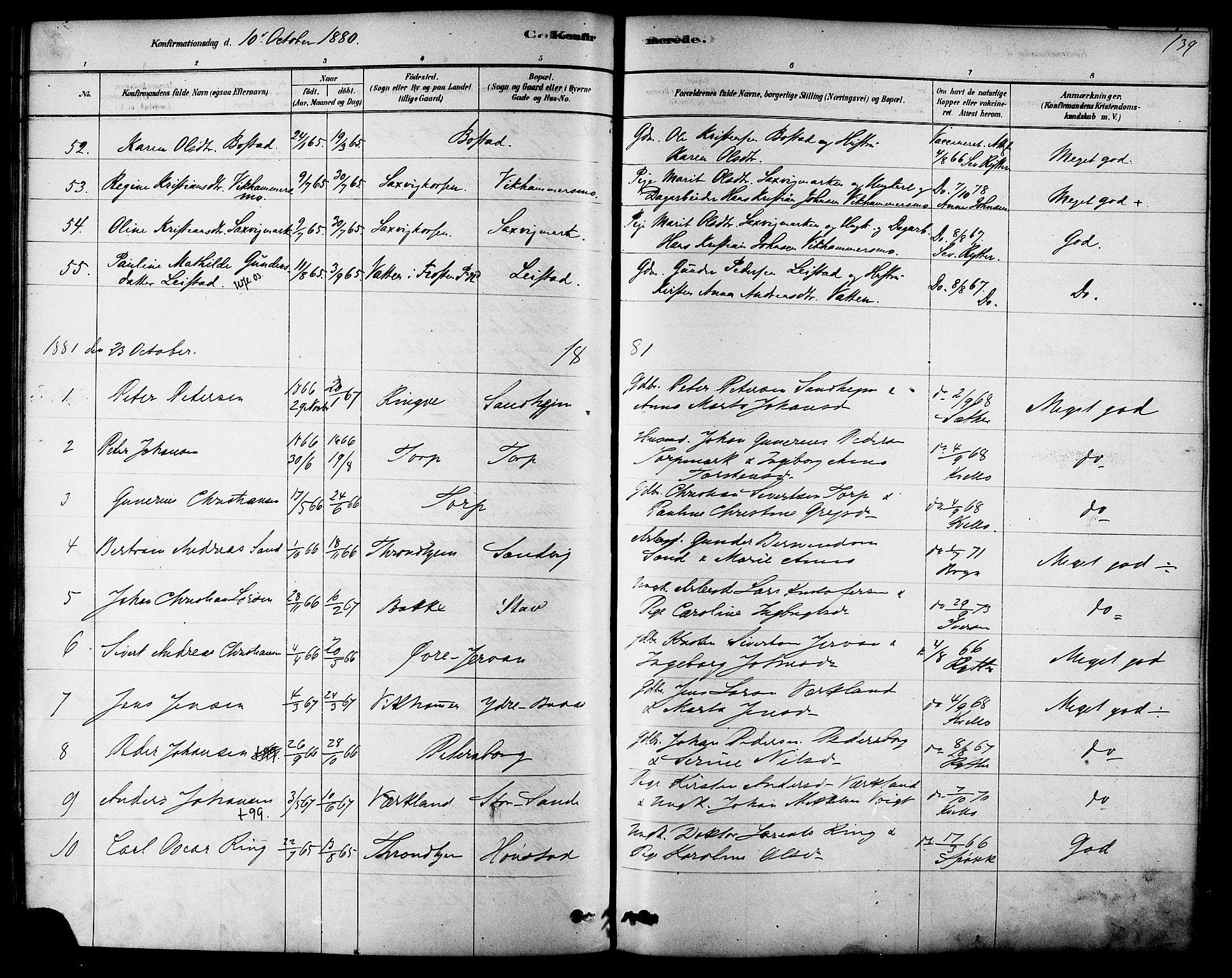 SAT, Ministerialprotokoller, klokkerbøker og fødselsregistre - Sør-Trøndelag, 616/L0410: Ministerialbok nr. 616A07, 1878-1893, s. 139
