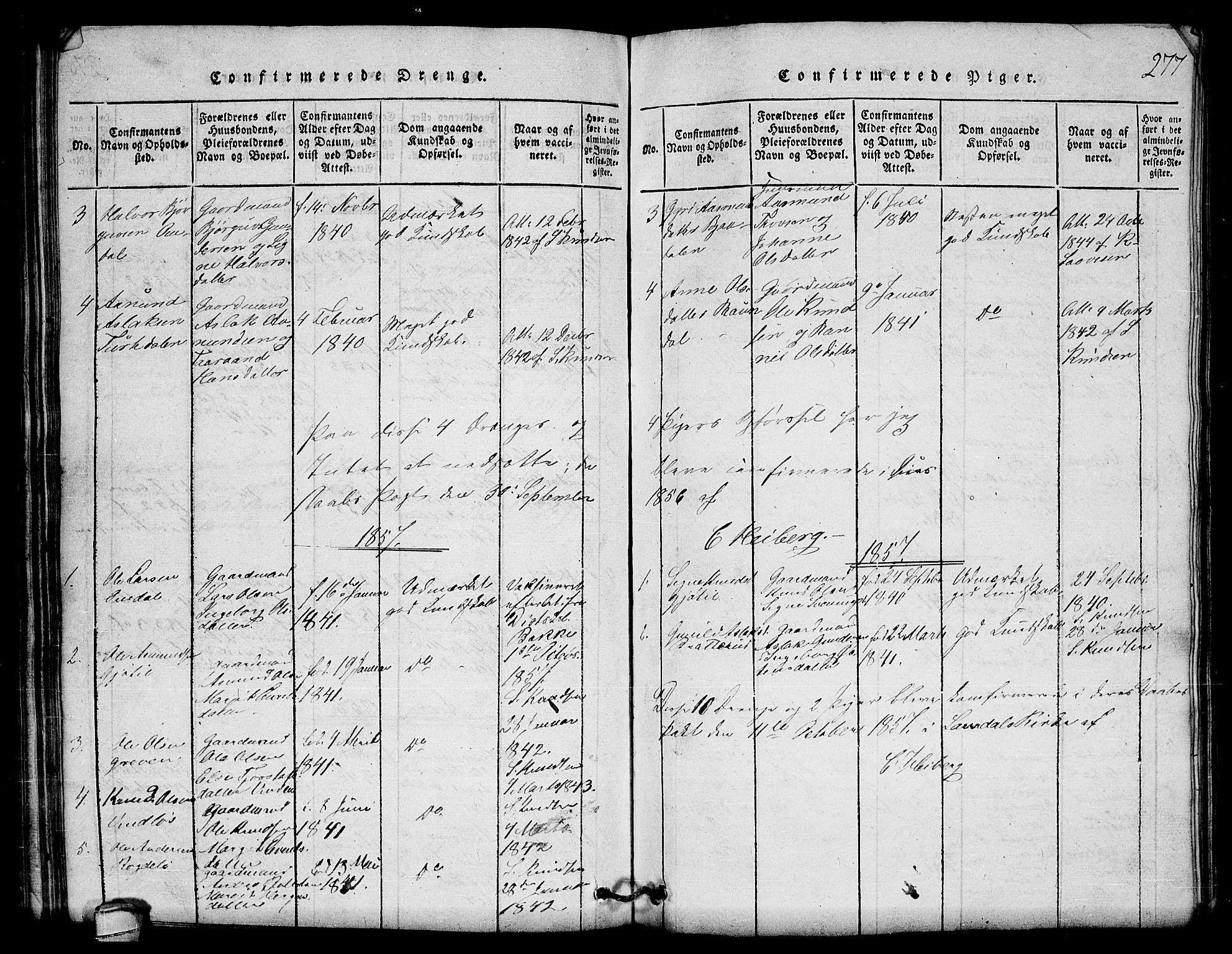 SAKO, Lårdal kirkebøker, G/Gb/L0001: Klokkerbok nr. II 1, 1815-1865, s. 277