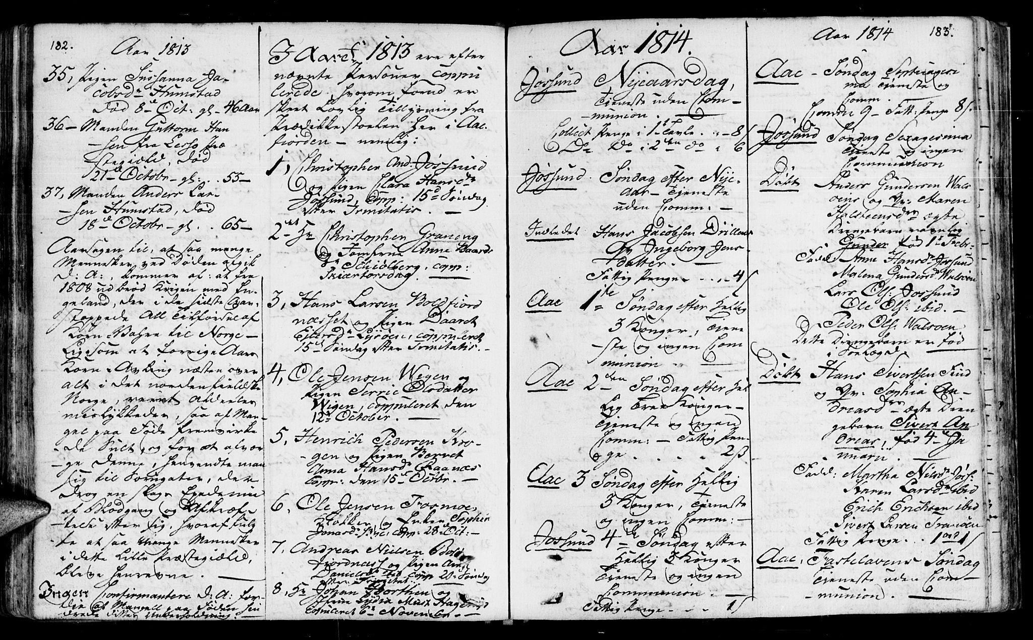 SAT, Ministerialprotokoller, klokkerbøker og fødselsregistre - Sør-Trøndelag, 655/L0674: Ministerialbok nr. 655A03, 1802-1826, s. 182-183