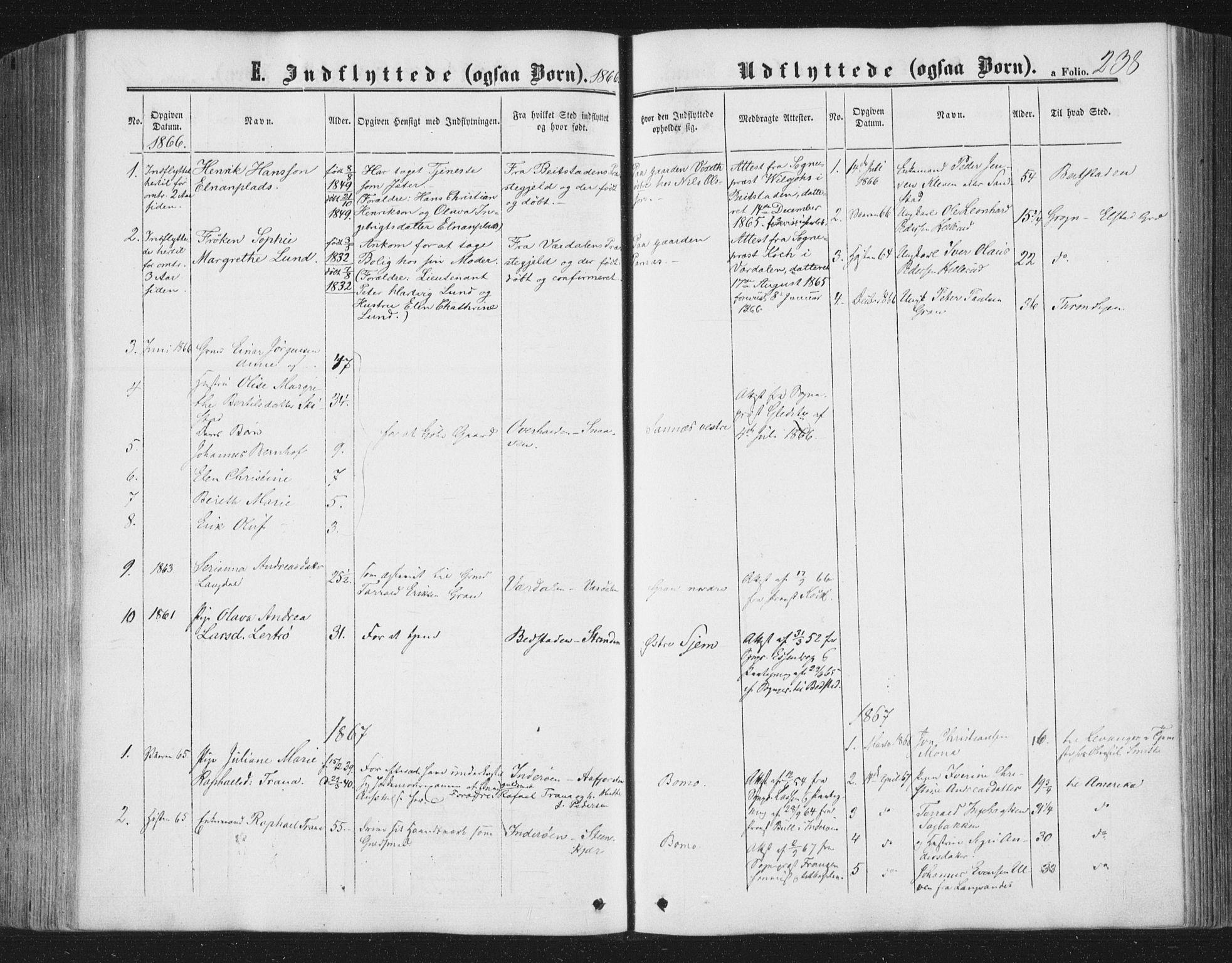 SAT, Ministerialprotokoller, klokkerbøker og fødselsregistre - Nord-Trøndelag, 749/L0472: Ministerialbok nr. 749A06, 1857-1873, s. 238