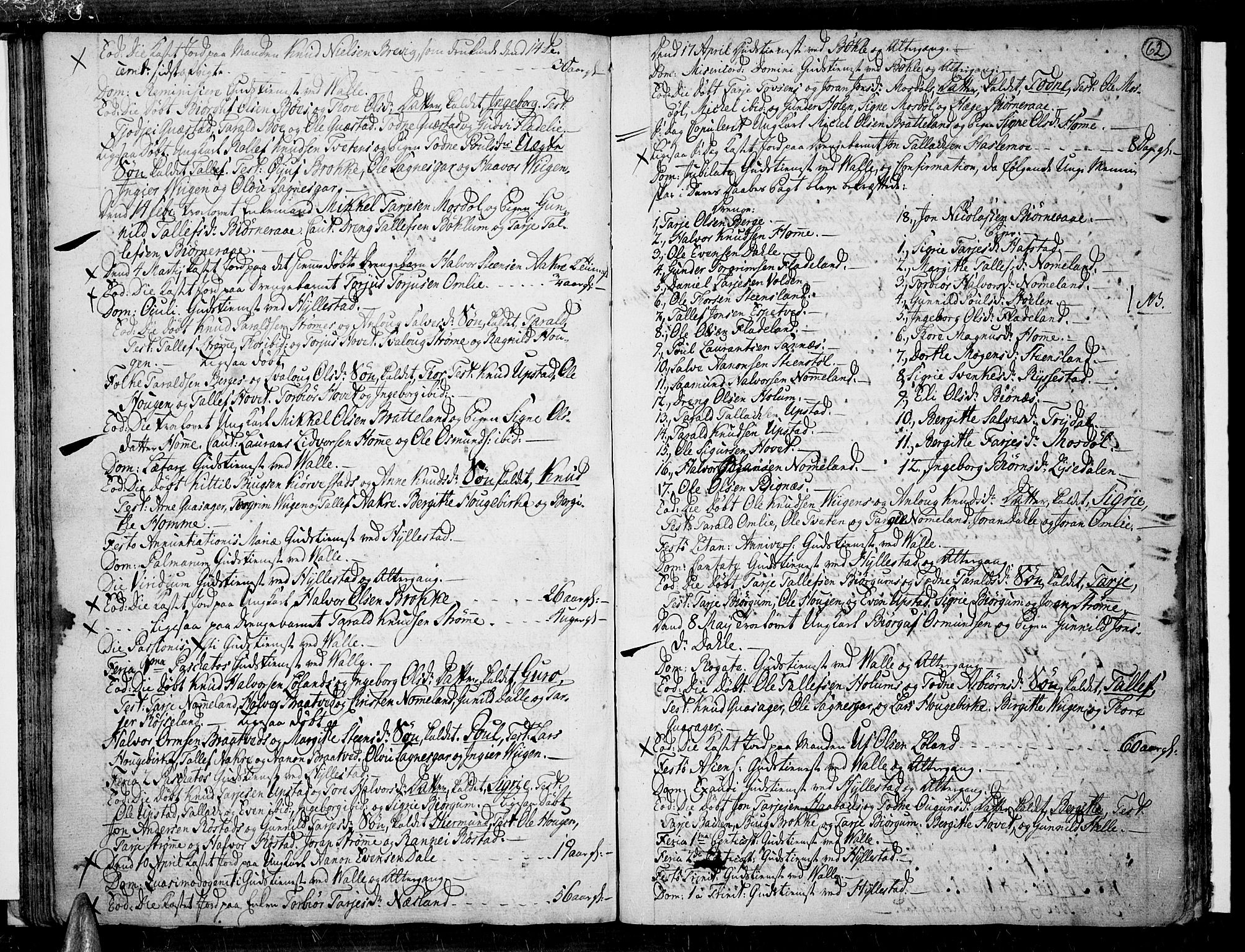 SAK, Valle sokneprestkontor, F/Fa/Fac/L0003: Ministerialbok nr. A 3, 1776-1790, s. 62