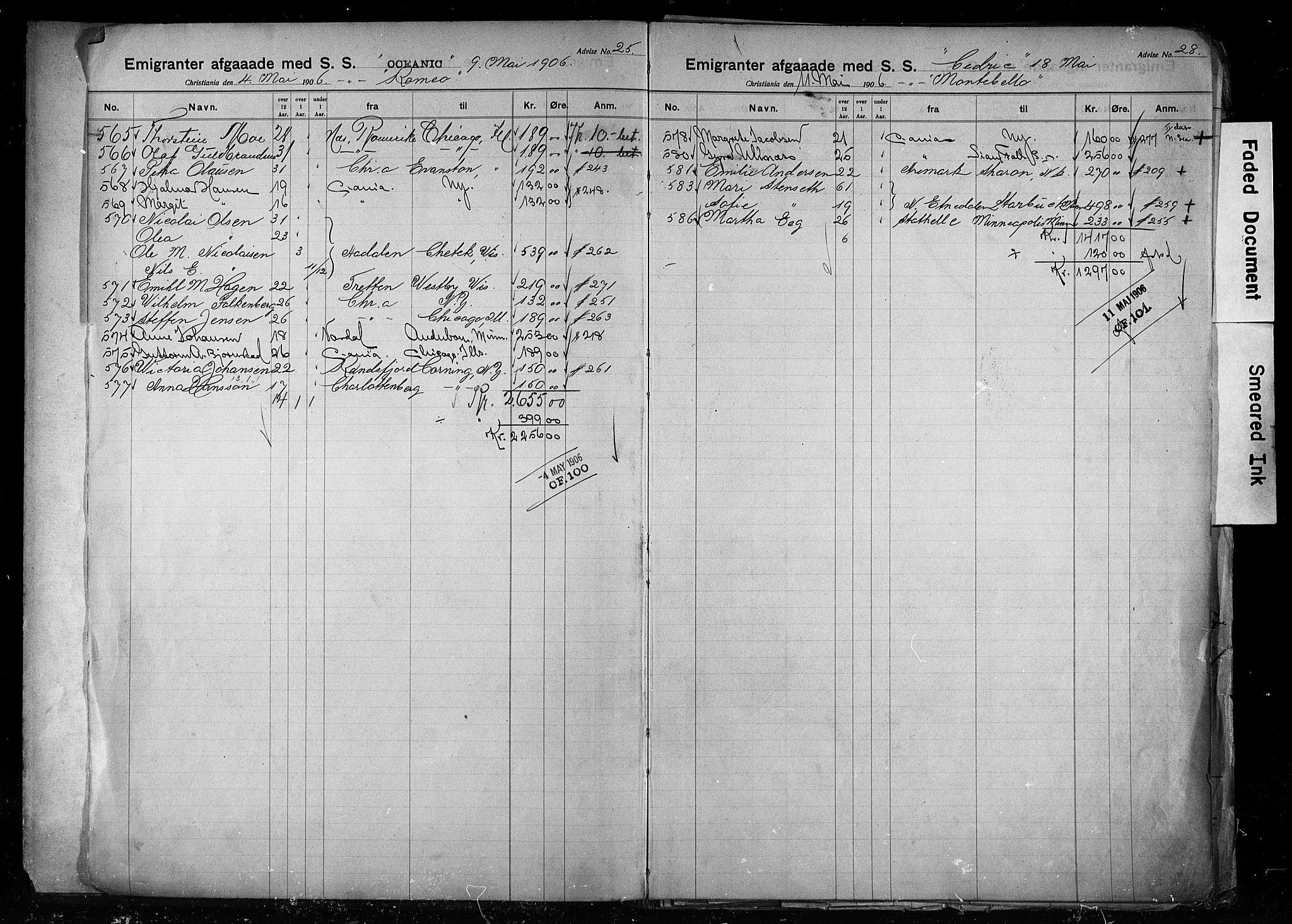 SAO, White Star-linjen, D/Da/L0004: Emigrant, 1906-1915
