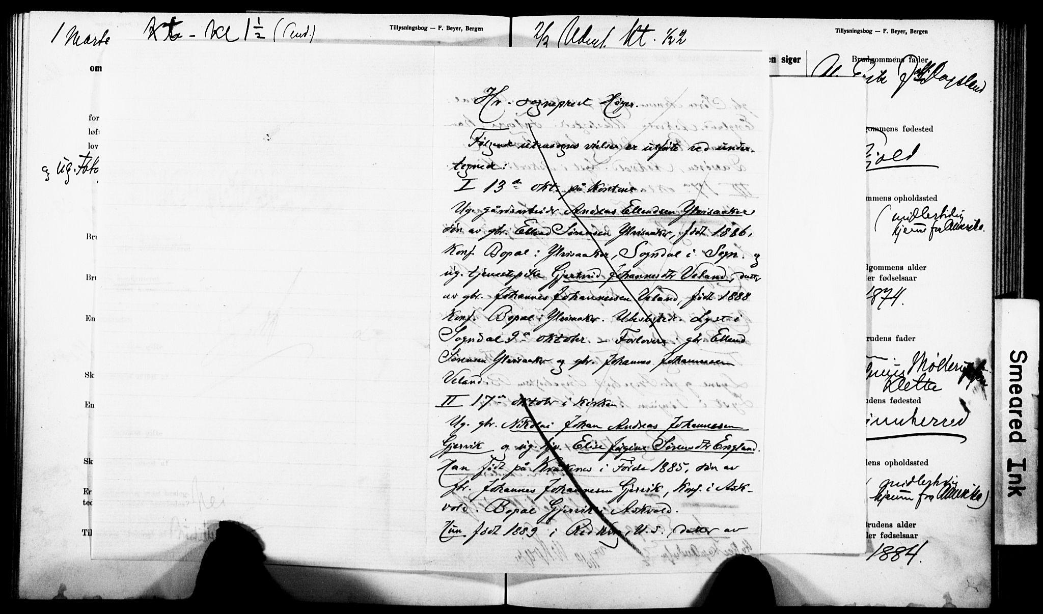SAB, Nykirken Sokneprestembete, Forlovererklæringer nr. II.5.5, 1907-1912, s. 270